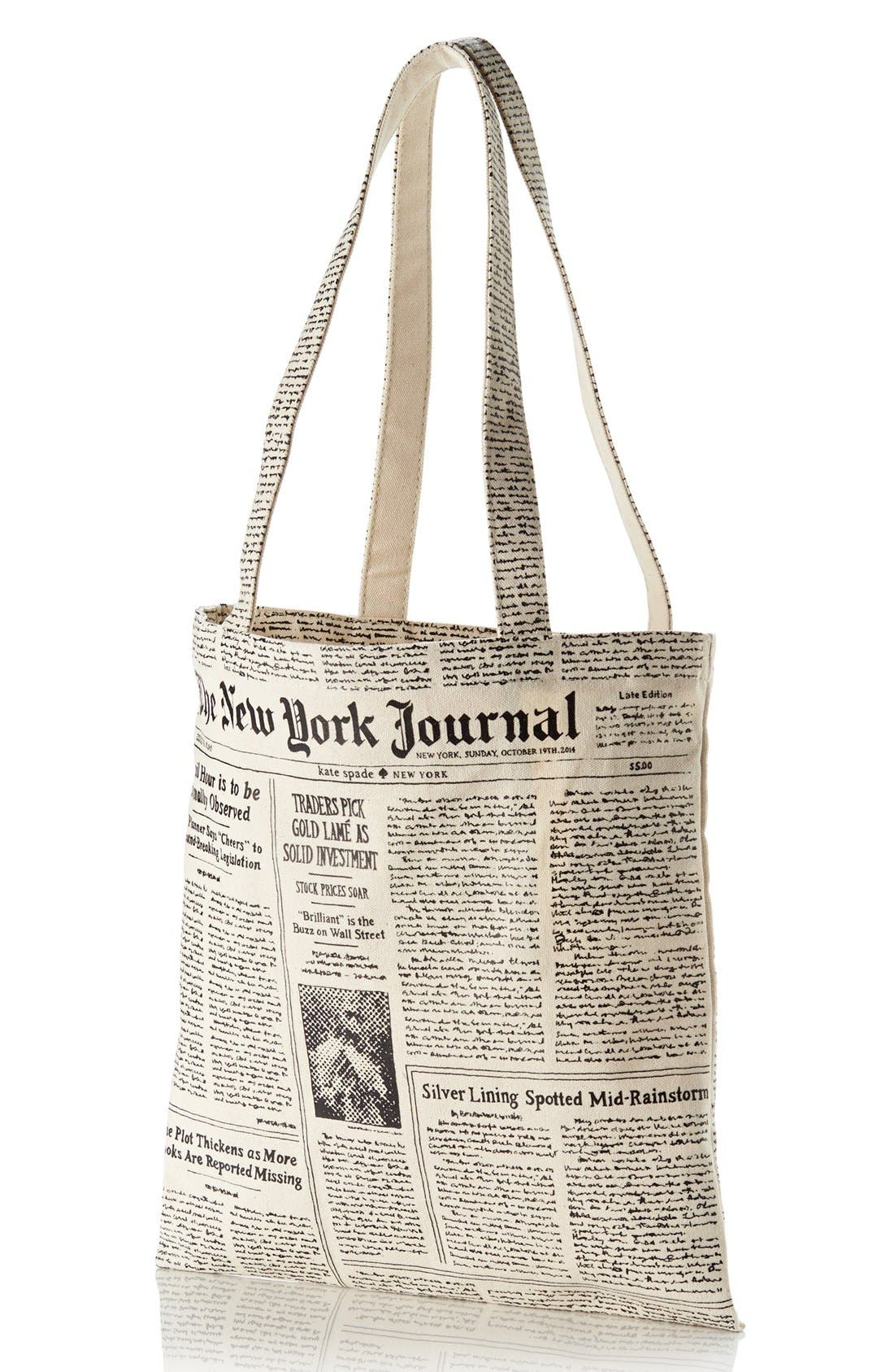 newspaper print canvas shopping tote,                         Main,                         color, 001
