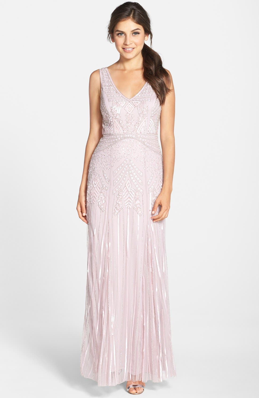 ADRIANNA PAPELL Long Beaded Gown, Main, color, 077