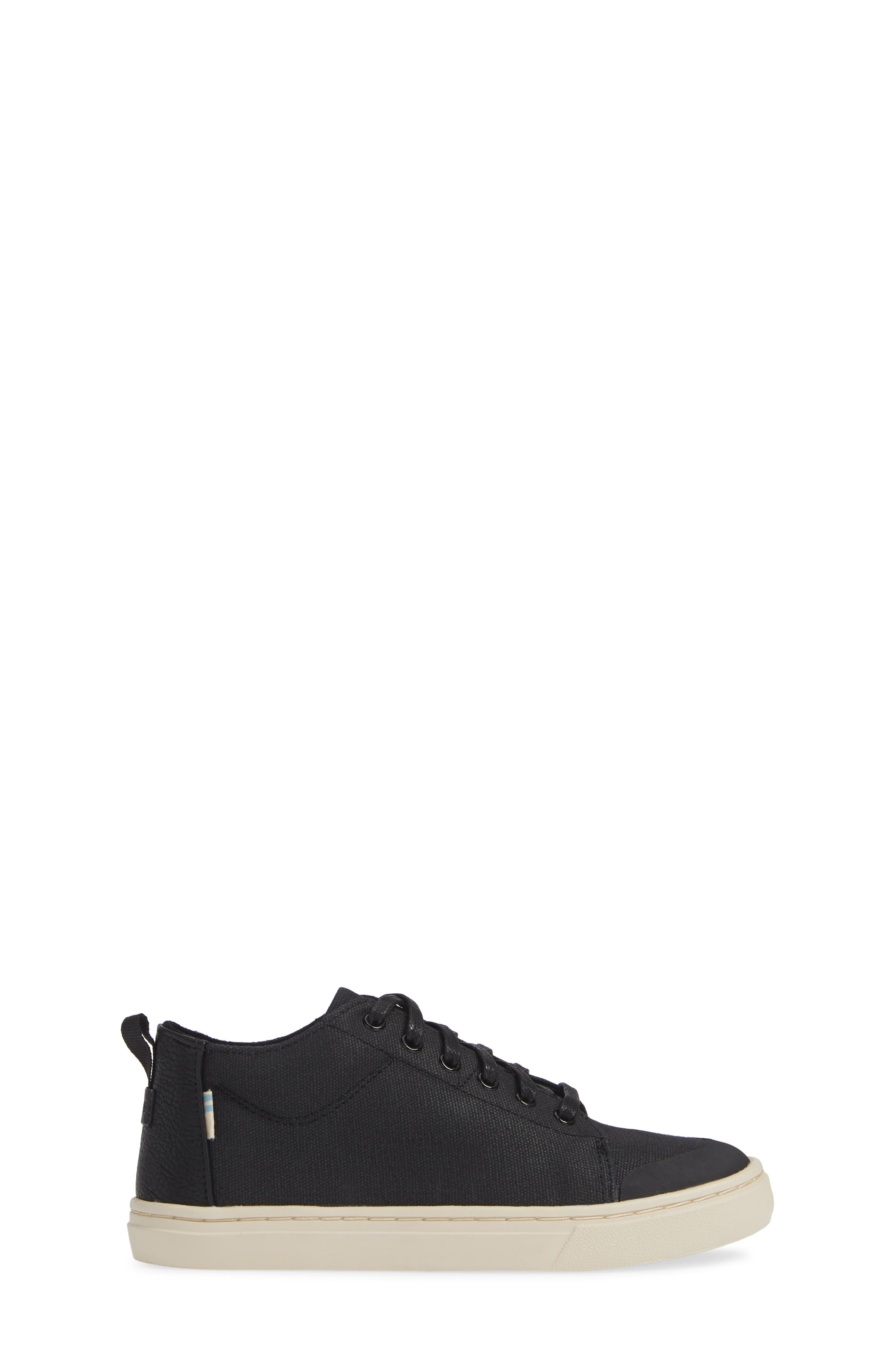 Lenny Mid Top Sneaker,                             Alternate thumbnail 3, color,                             BLACK TEXTURAL CANVAS