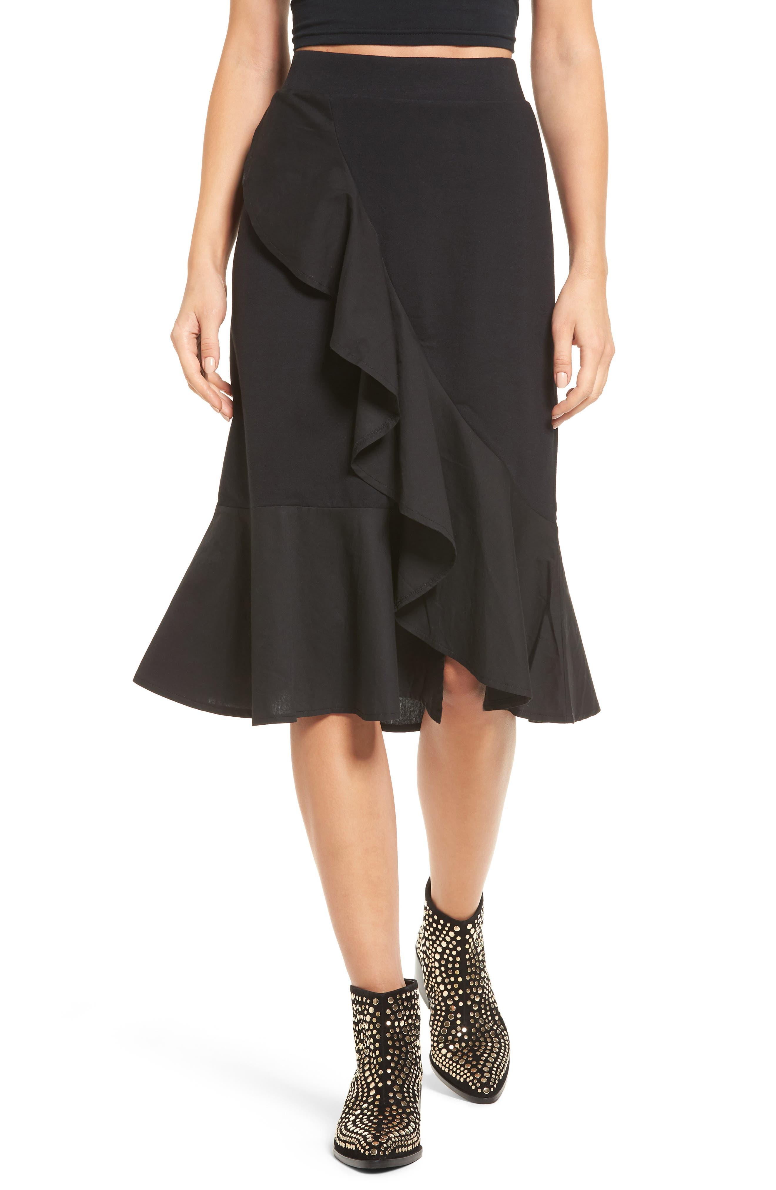 Ruffle Hem Skirt,                             Main thumbnail 1, color,                             001