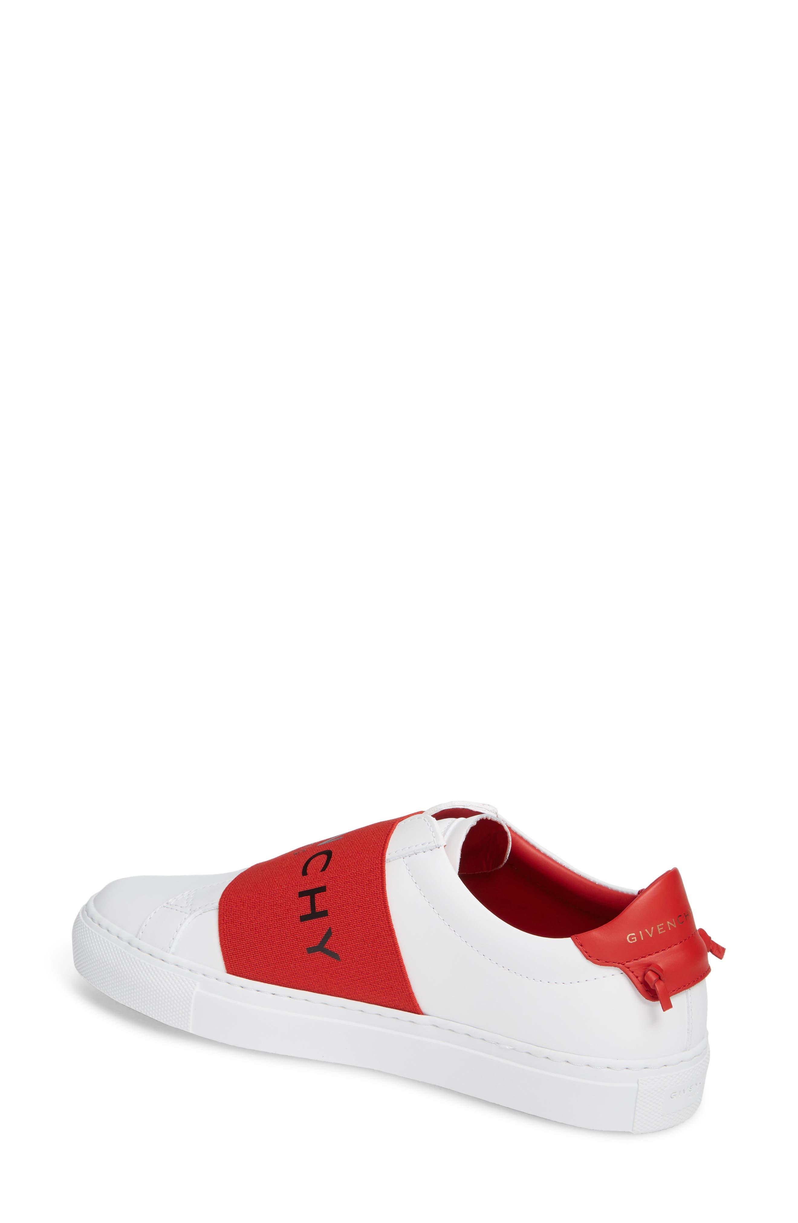 Logo Strap Slip-On Sneaker,                             Alternate thumbnail 2, color,                             WHITE/ RED