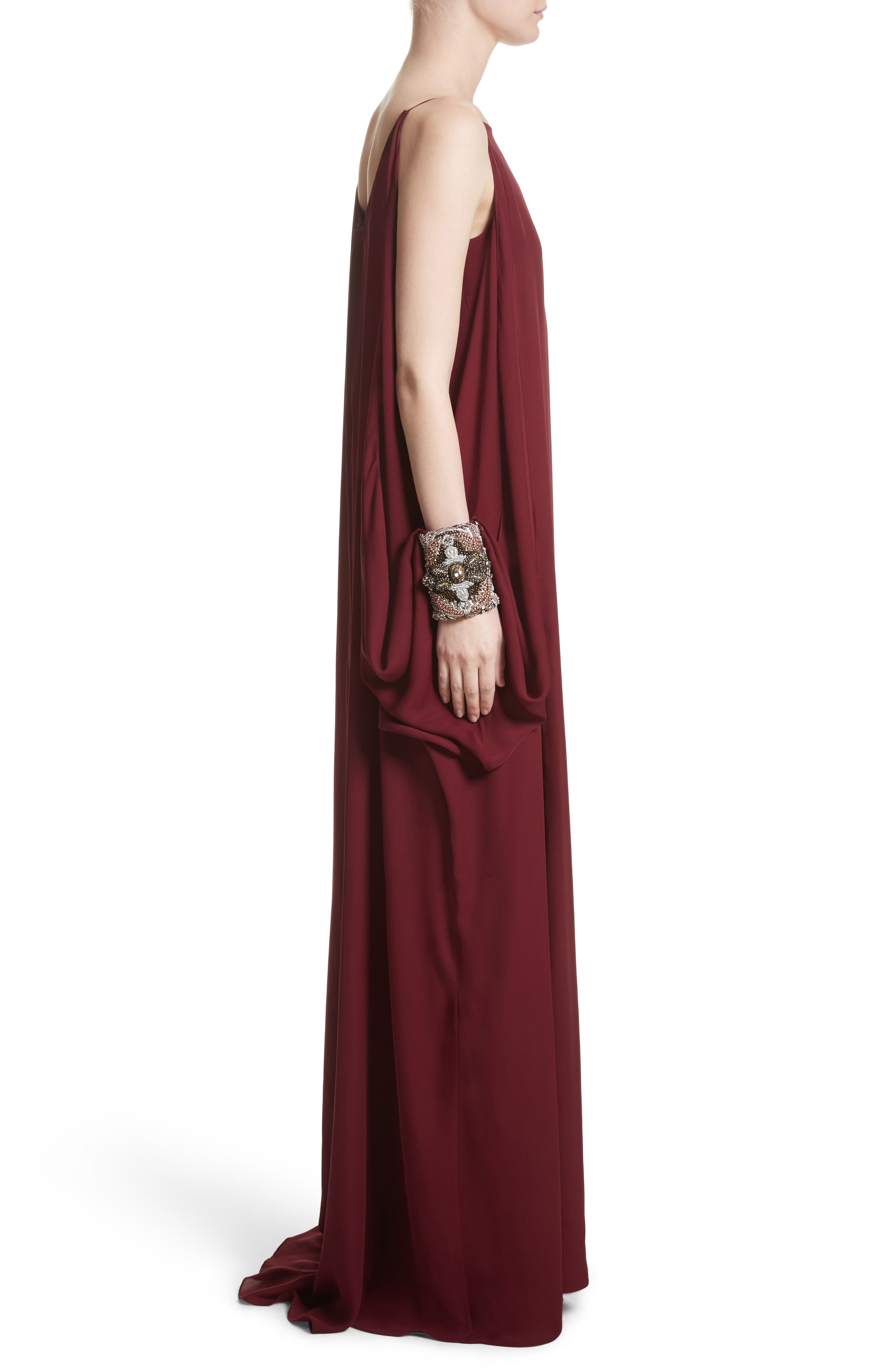 Badgley Mischka Couture Embellished Cuff Silk Caftan,                             Alternate thumbnail 3, color,                             930