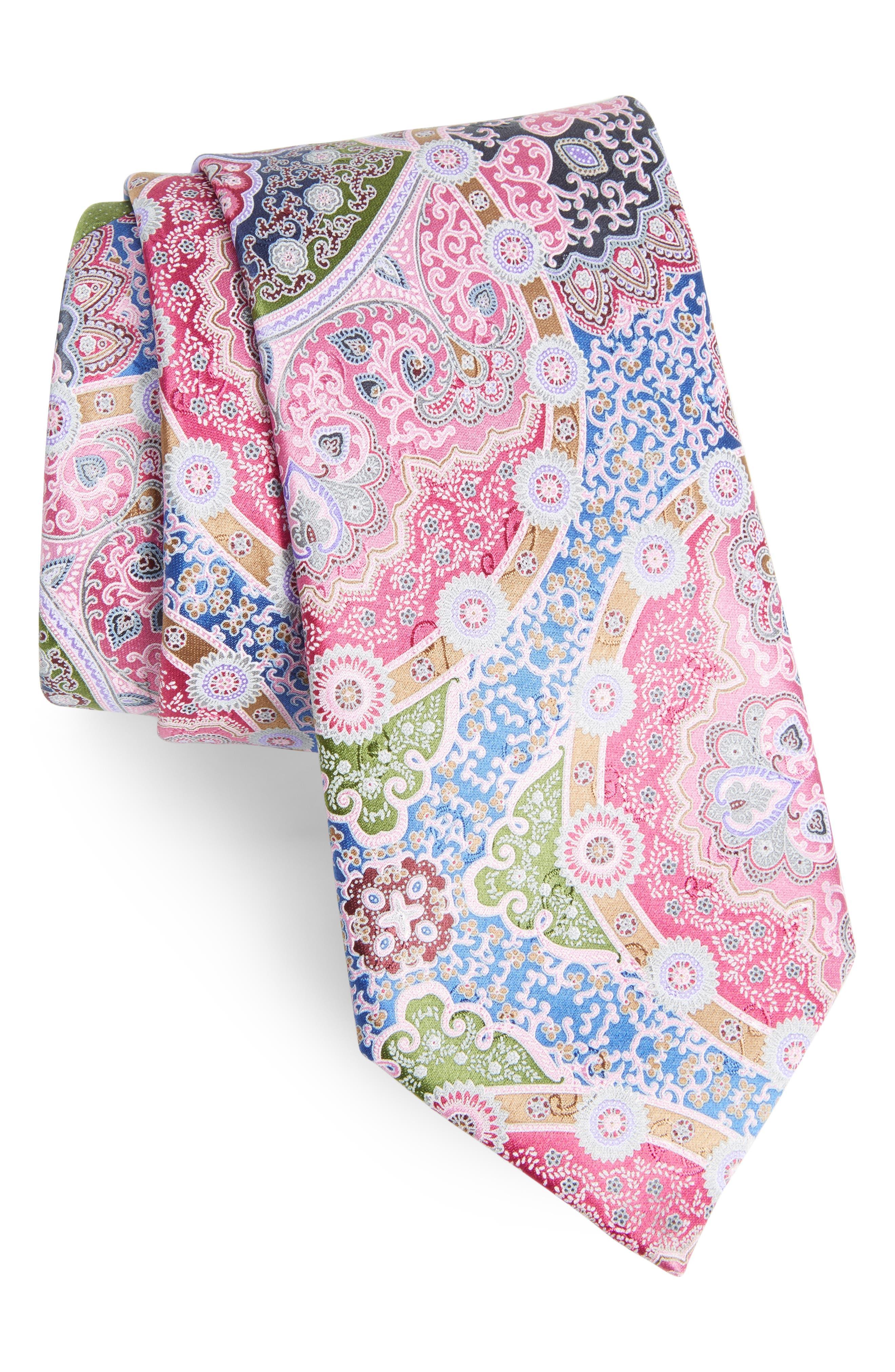 Quindici Paisley Silk Tie,                         Main,                         color, 650