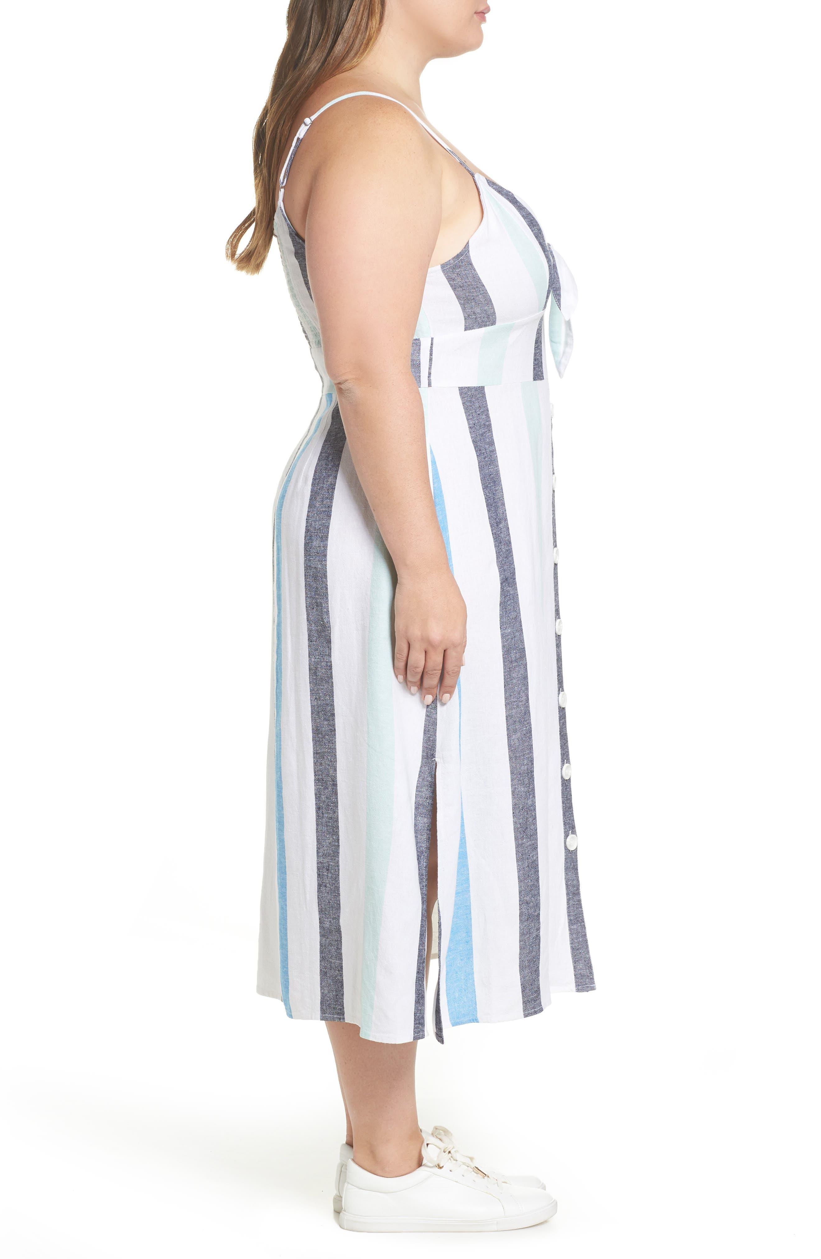 BP.,                             Stripe Sundress,                             Alternate thumbnail 10, color,                             BLUE PLACID LACY STRIPE