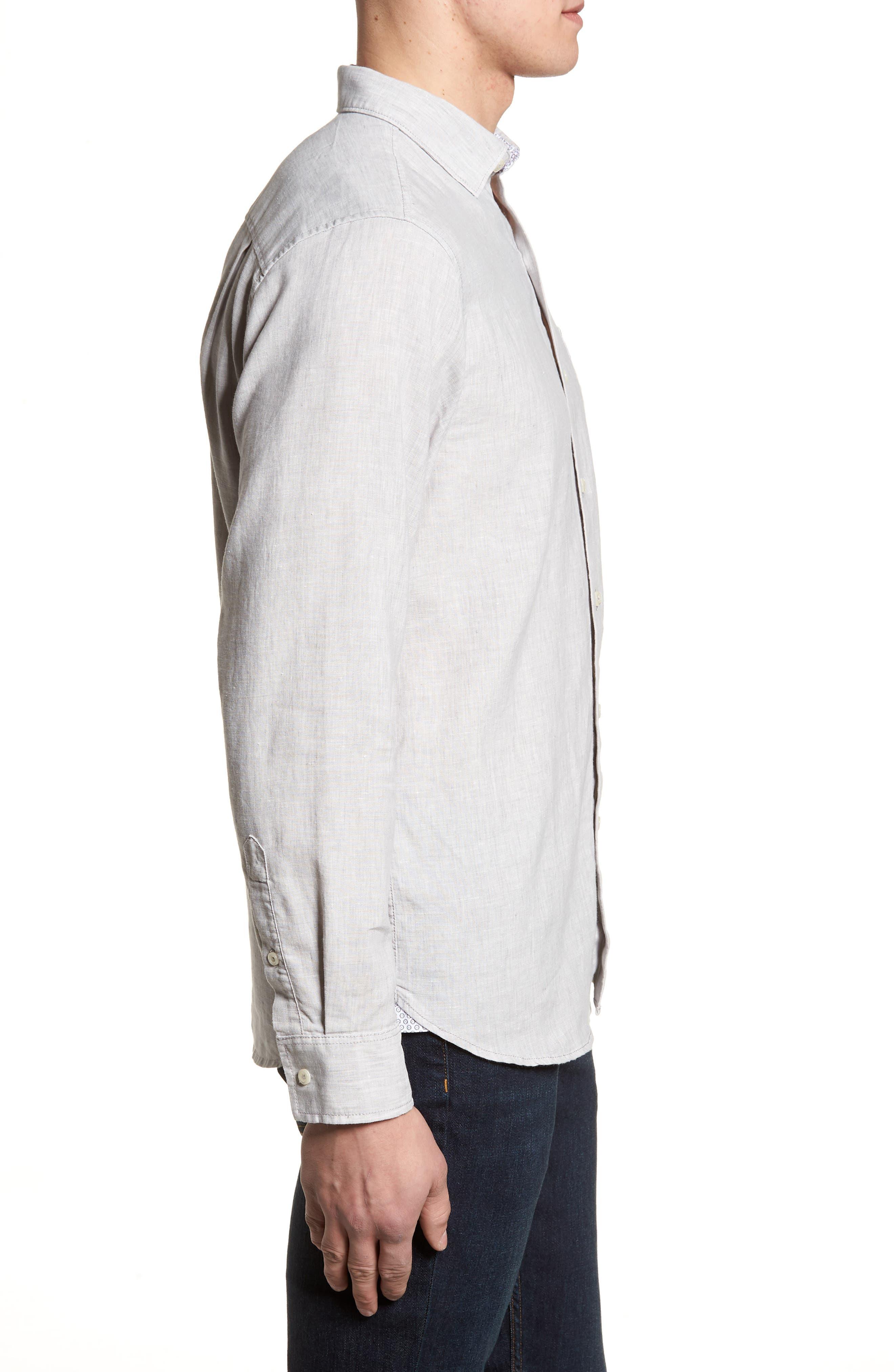 Lanai Tides Linen Blend Sport Shirt,                             Alternate thumbnail 3, color,                             020