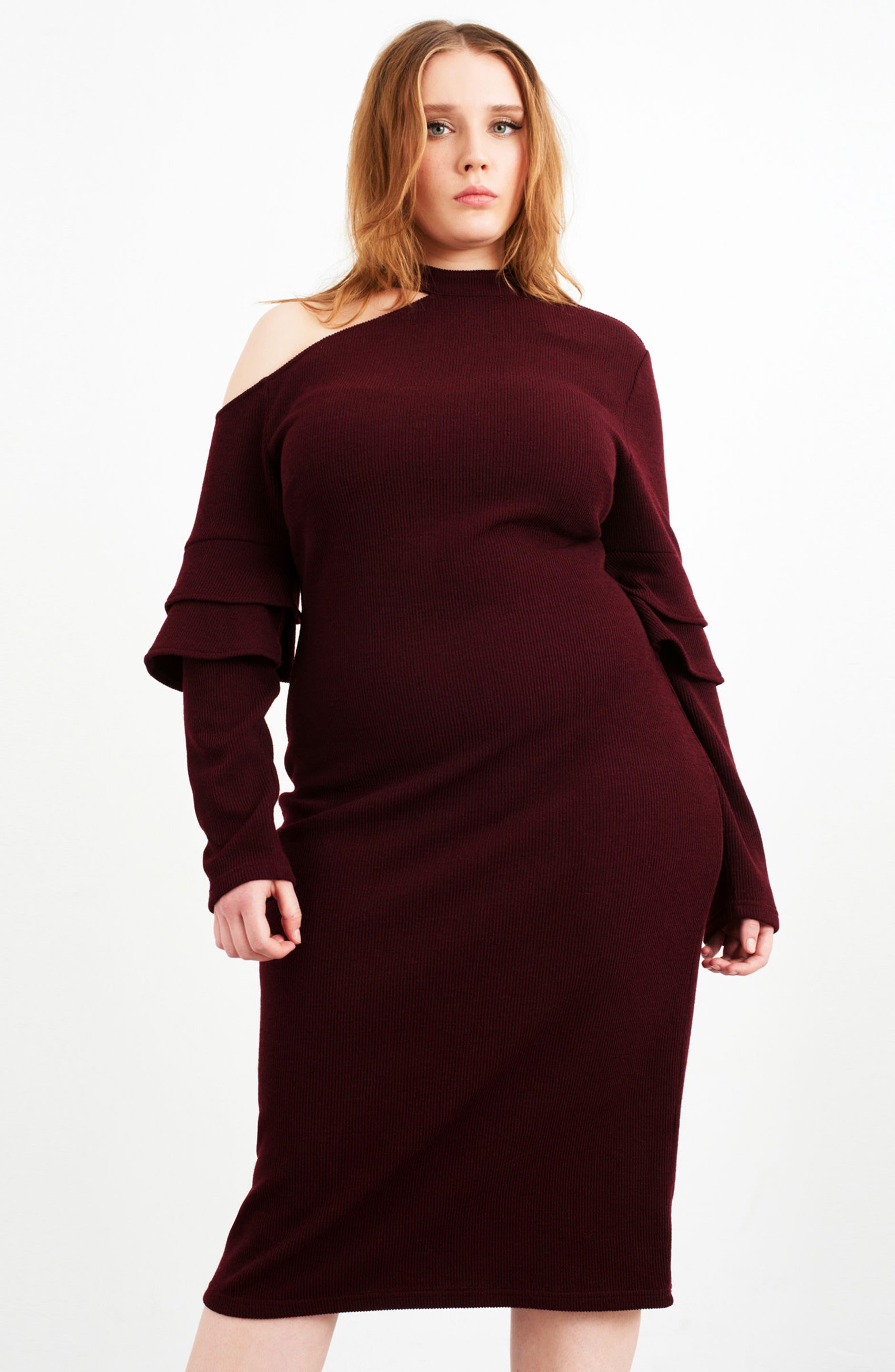 Shoulder Cutout Knit Dress,                             Alternate thumbnail 7, color,                             600