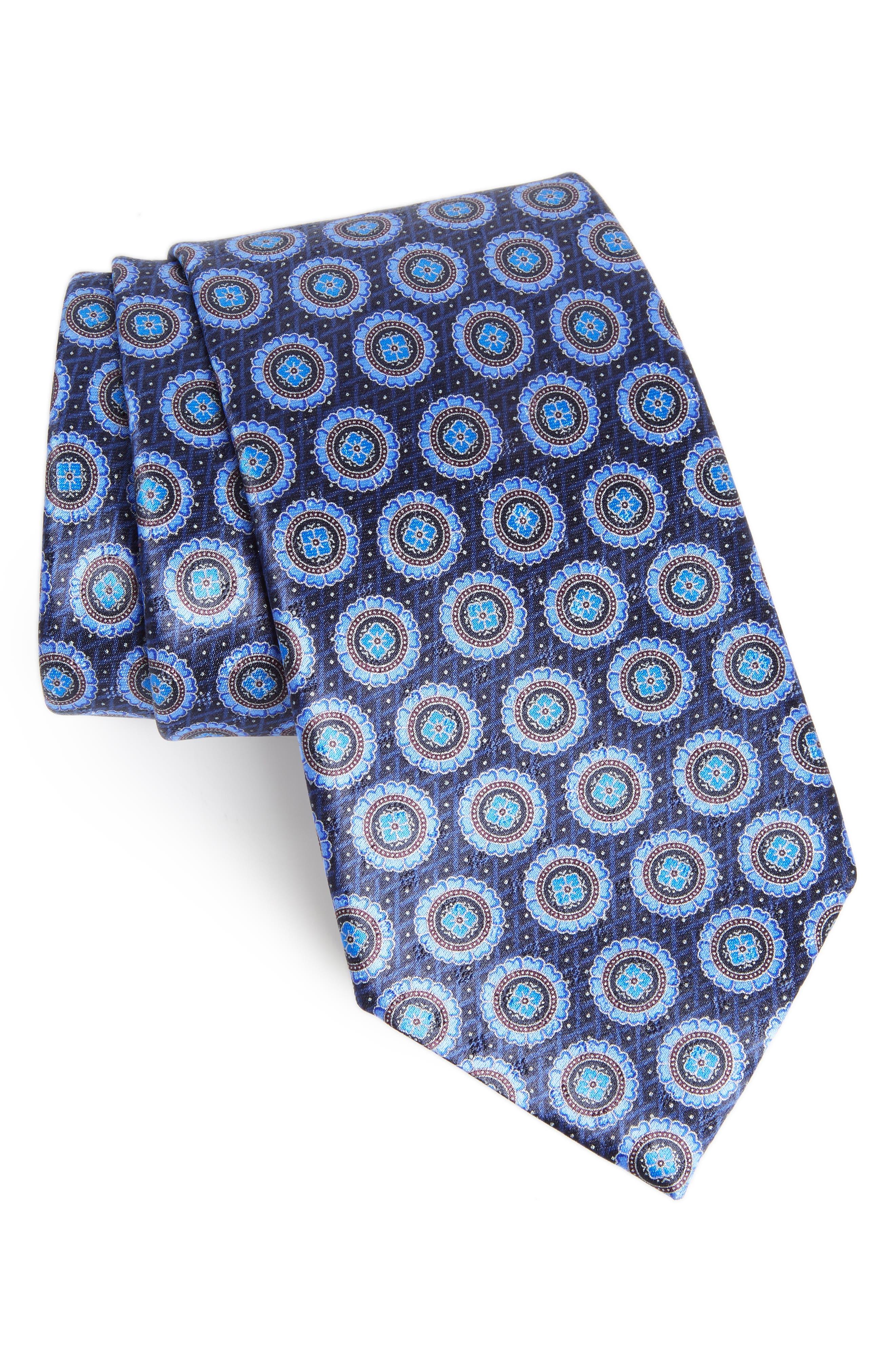 Ermenegildo Zenga Medallion Silk Tie,                             Main thumbnail 1, color,                             BLUE