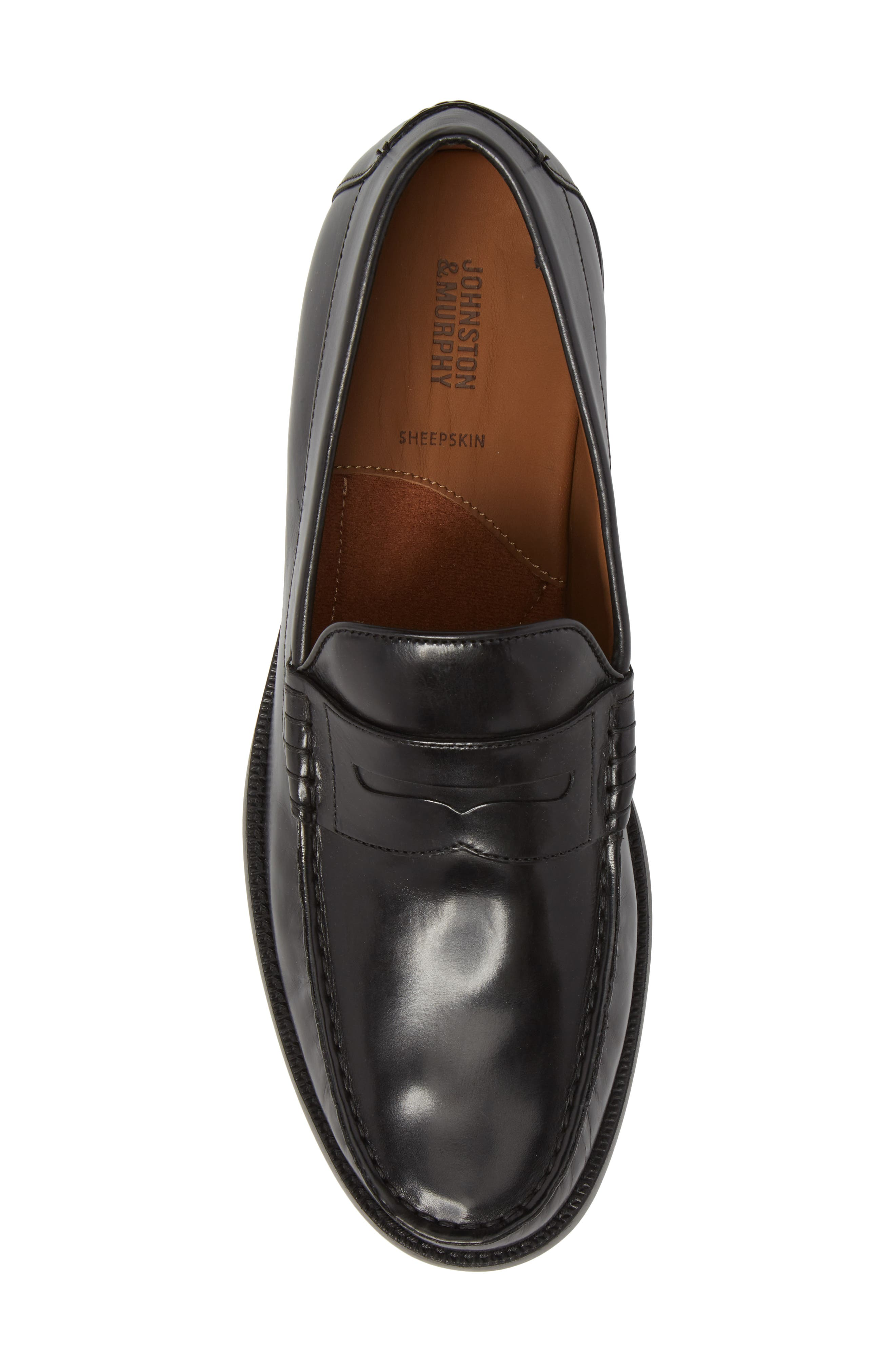 Chadwell Penny Loafer,                             Alternate thumbnail 5, color,                             BLACK LEATHER