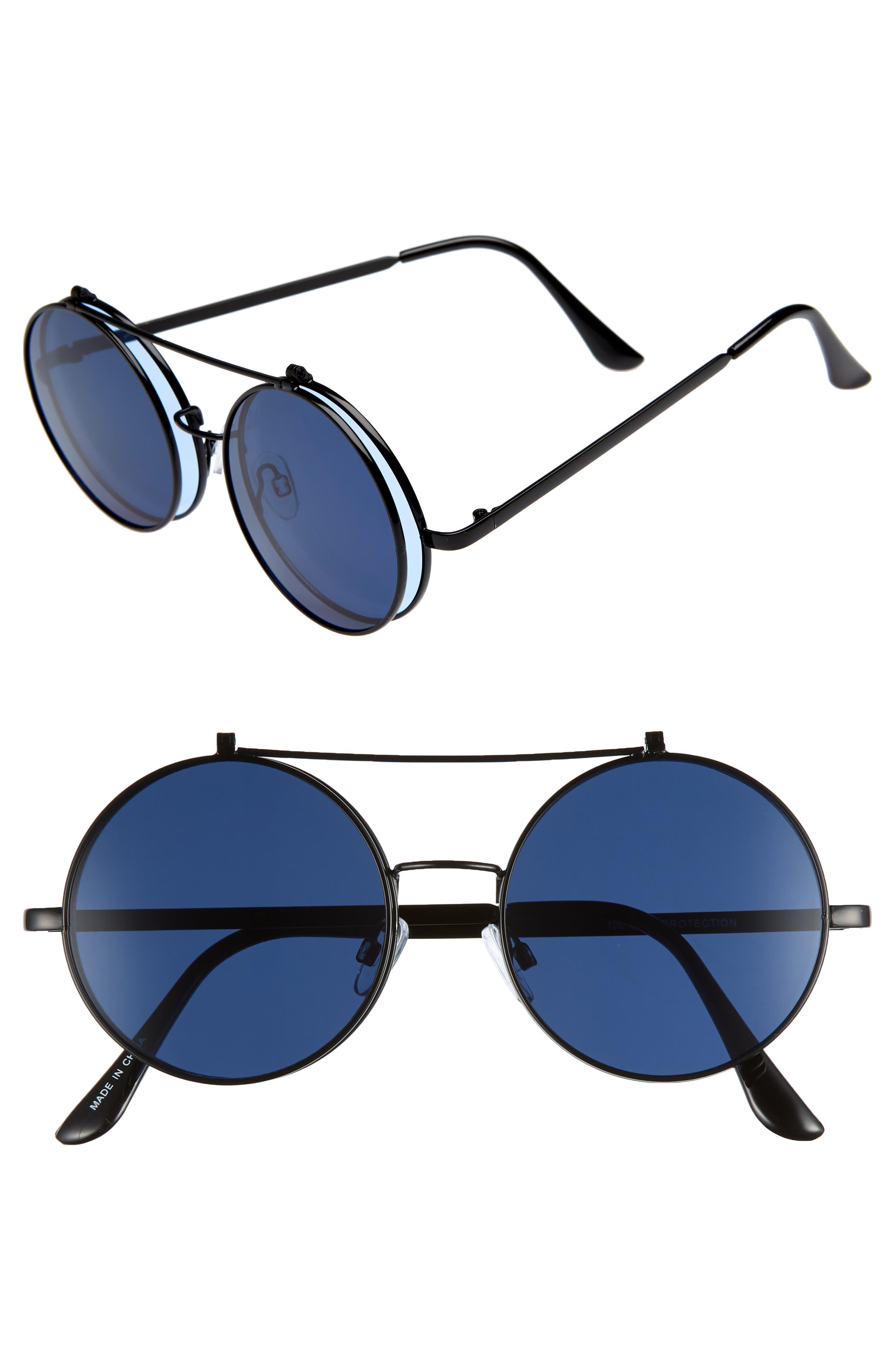 50mm Round Flip-Up Sunglasses,                         Main,                         color, BLACK/ BLUE