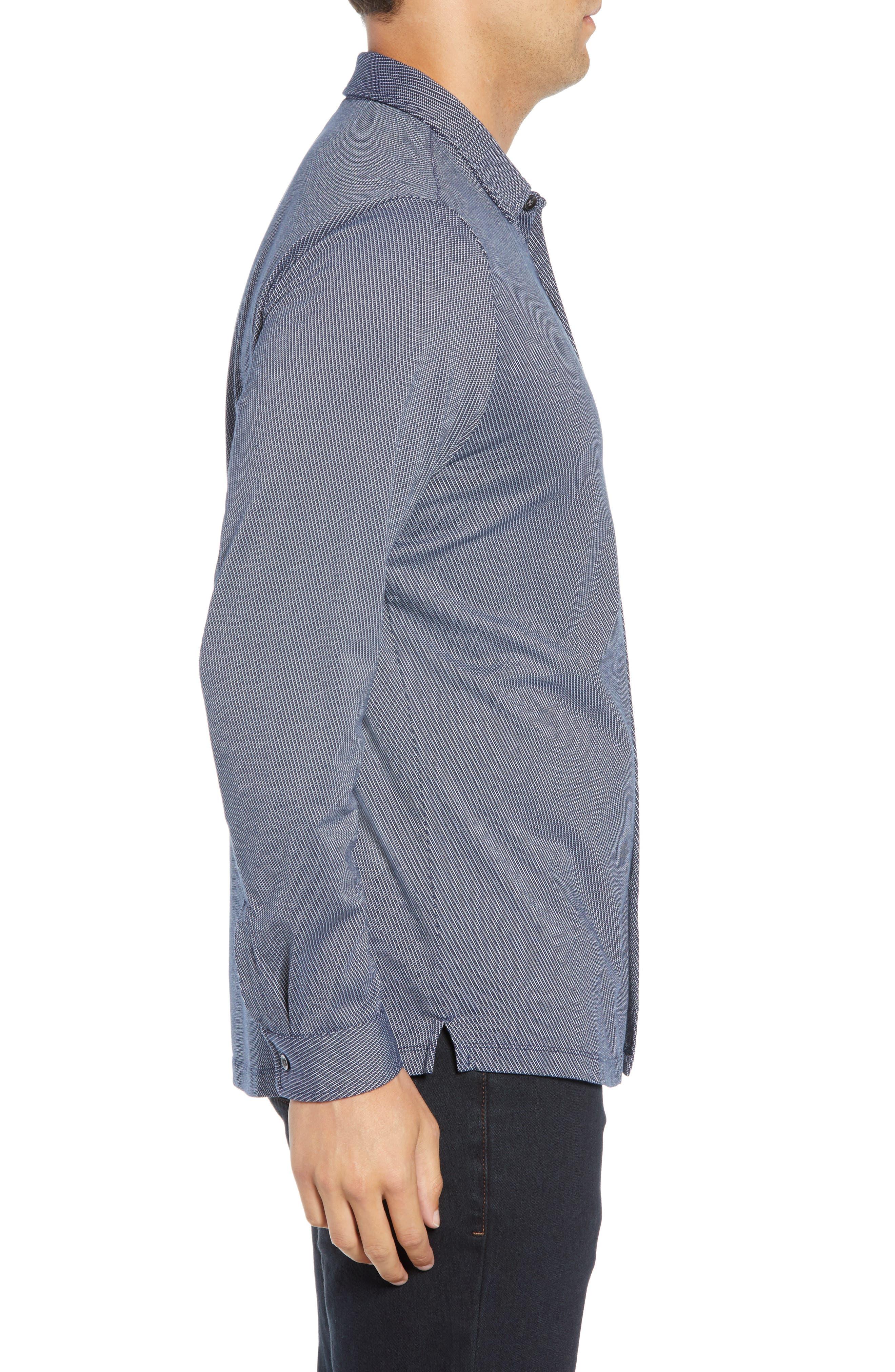 Colby Regular Fit Knit Sport Shirt,                             Alternate thumbnail 4, color,                             NAVY