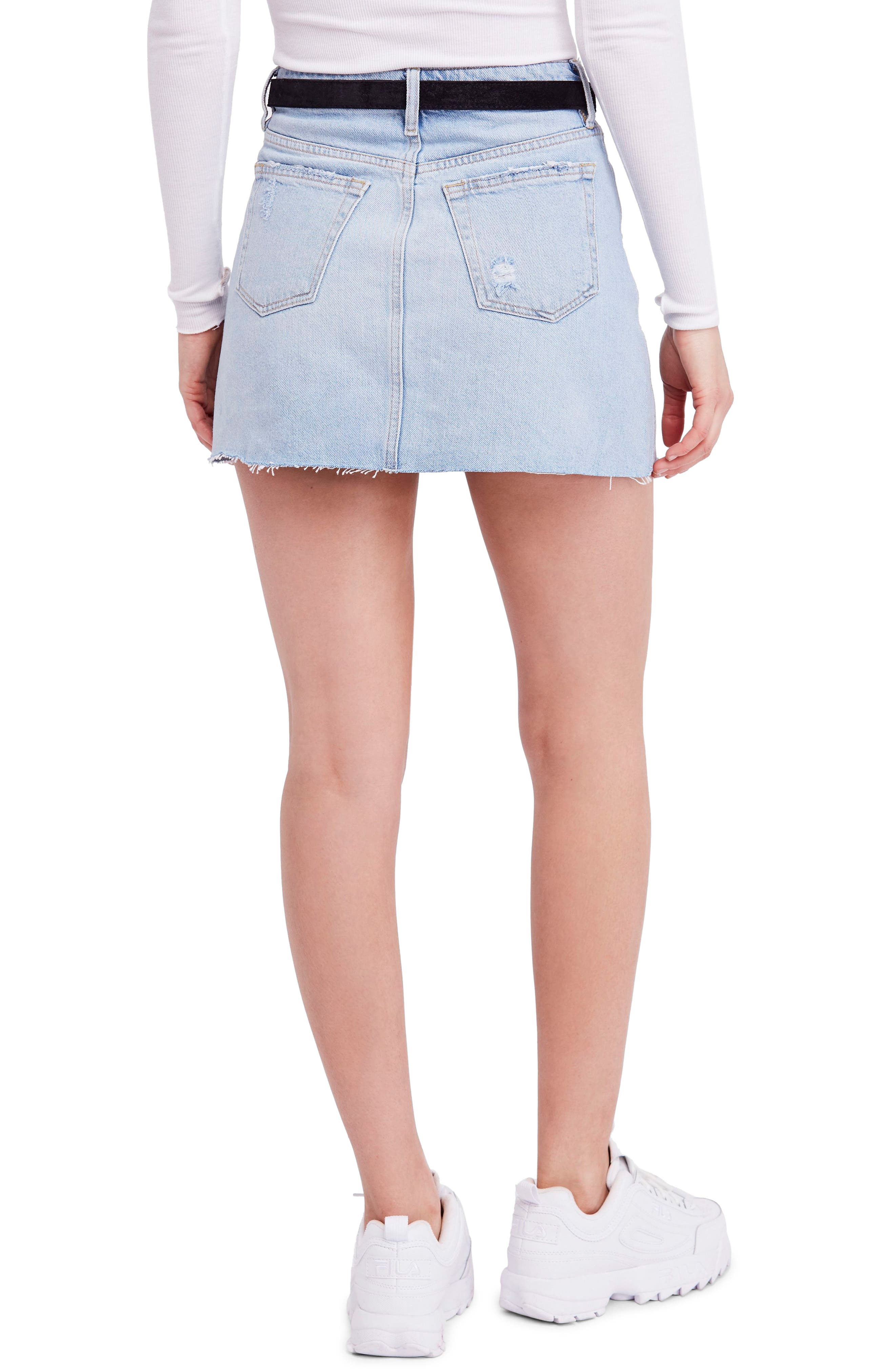 We the Free by Free People Denim A-Line Skirt,                             Alternate thumbnail 2, color,                             LIGHT DENIM