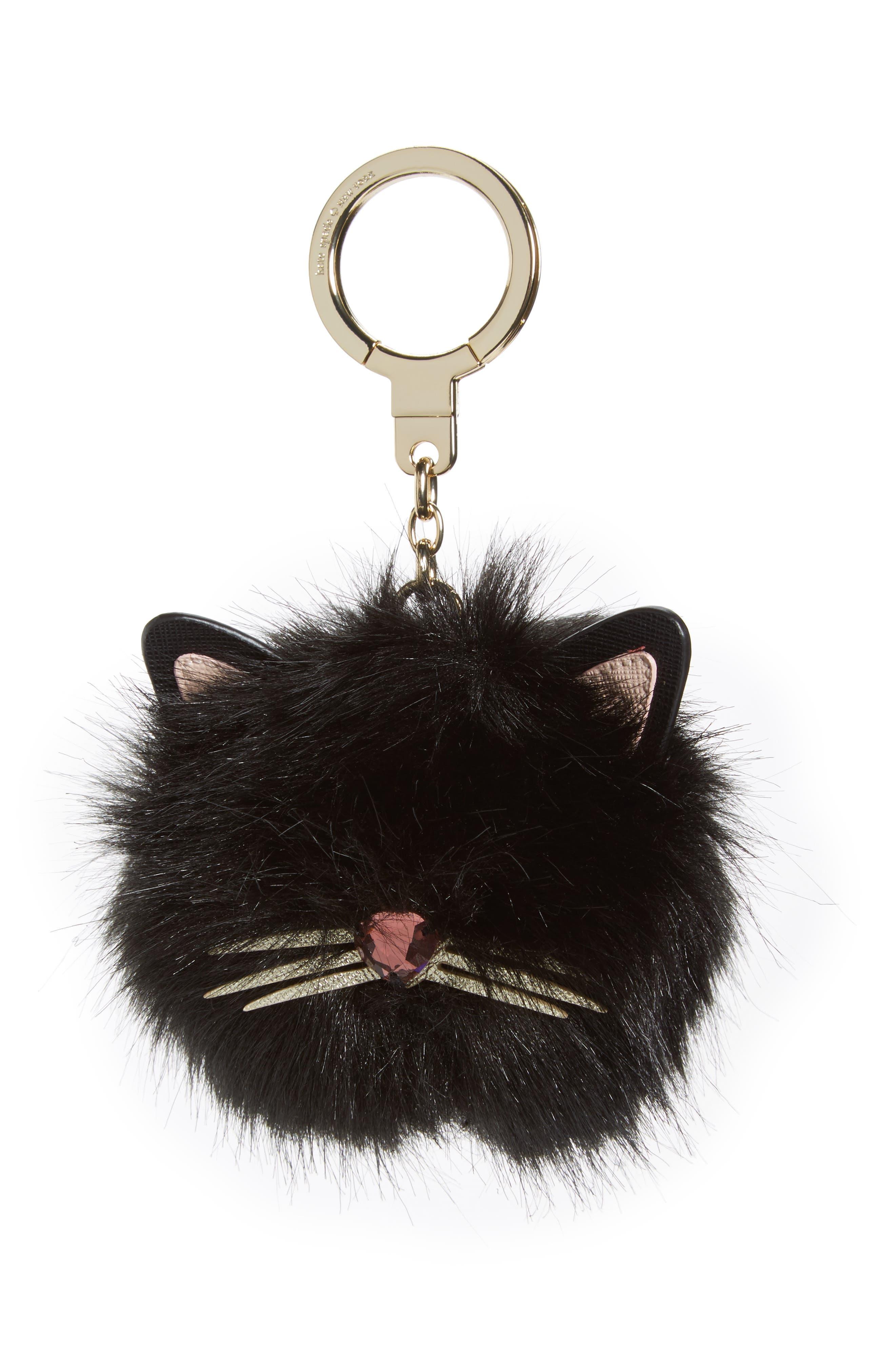 faux fur cat pom bag charm,                             Main thumbnail 1, color,                             001