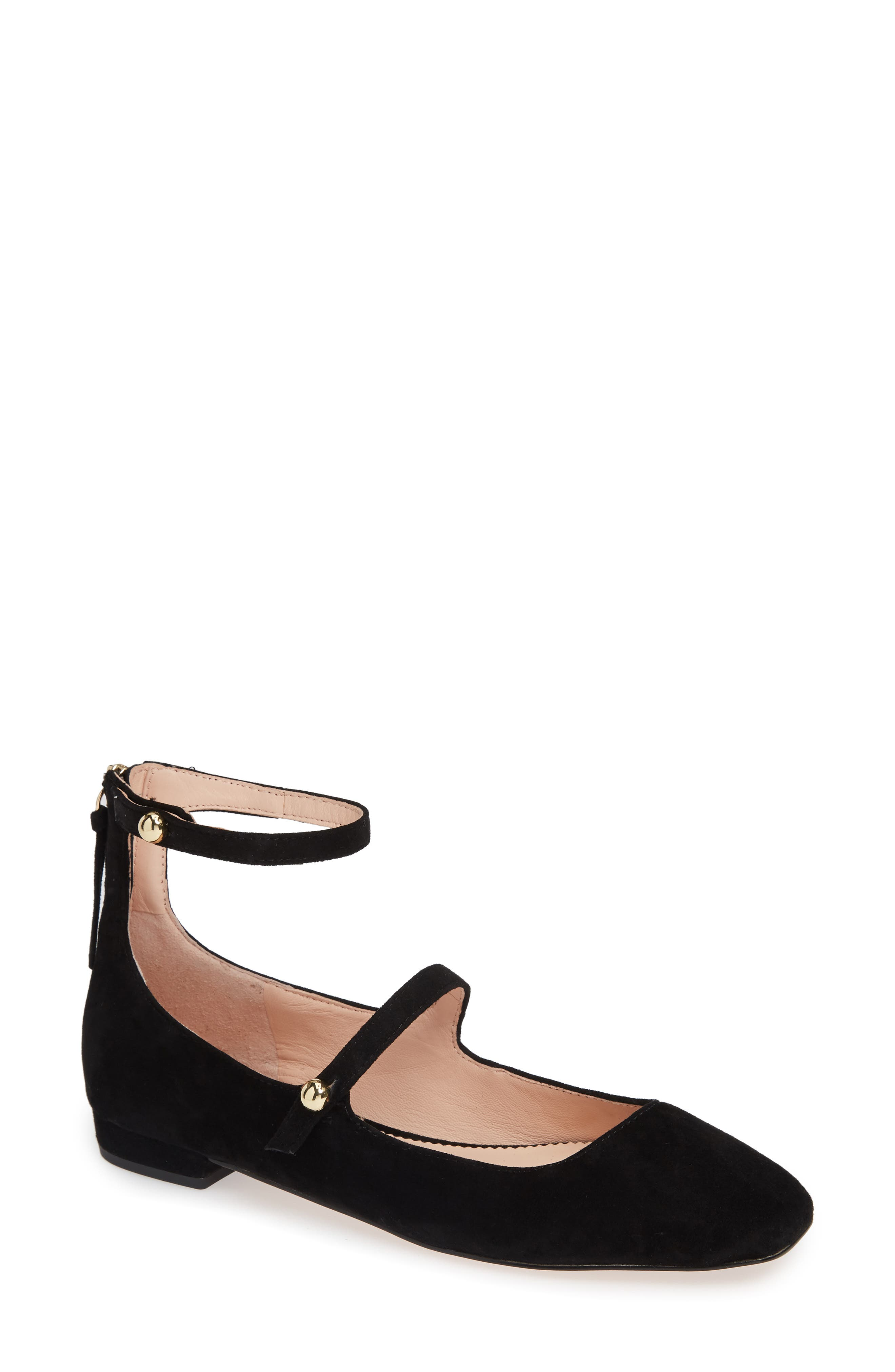 Poppy Two-Strap Ballet Flat,                         Main,                         color, BLACK