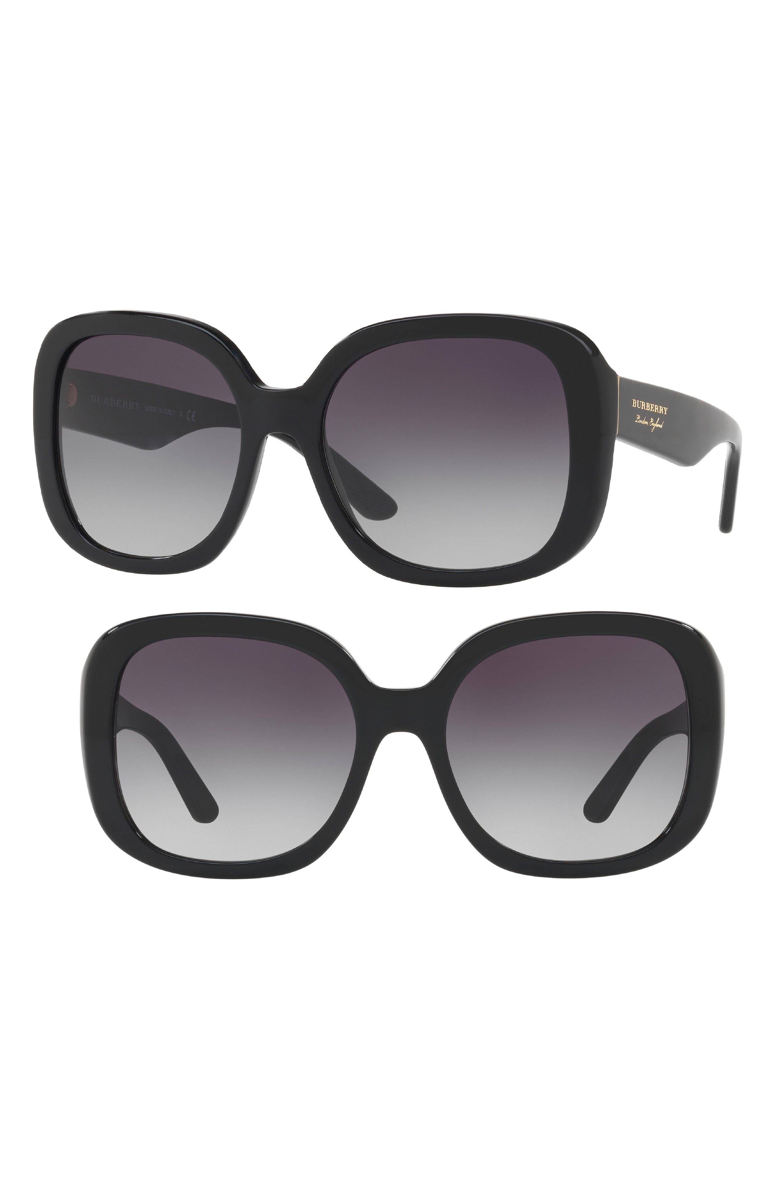 56mm Gradient Sunglasses,                             Main thumbnail 1, color,                             BLACK
