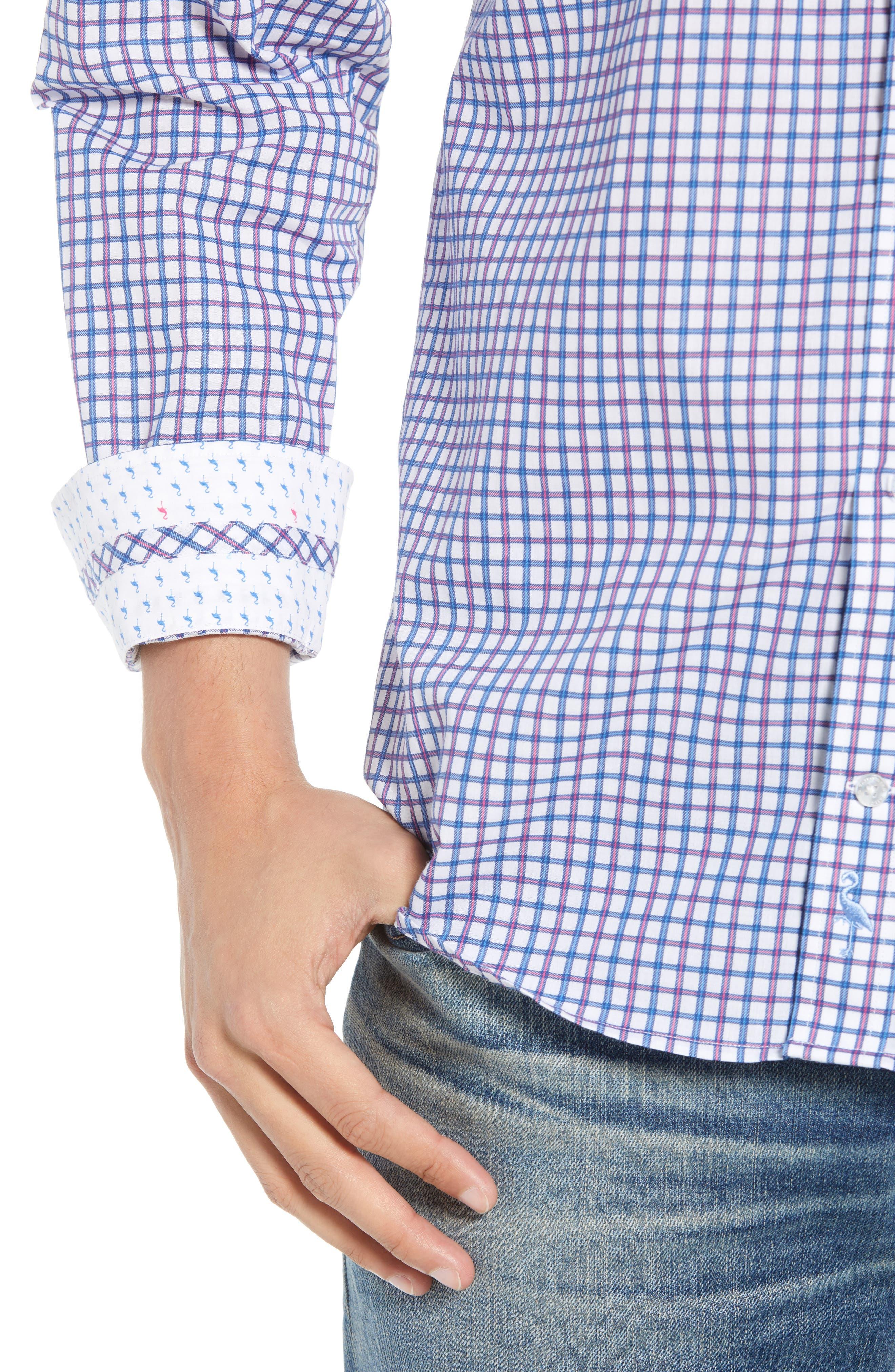 Beck Regular Fit Windowpane Sport Shirt,                             Alternate thumbnail 4, color,