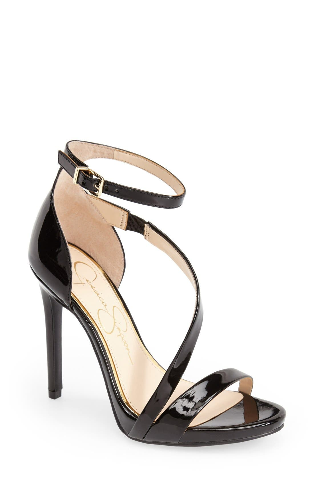 'Rayli' Patent Ankle Strap Sandal, Main, color, 001