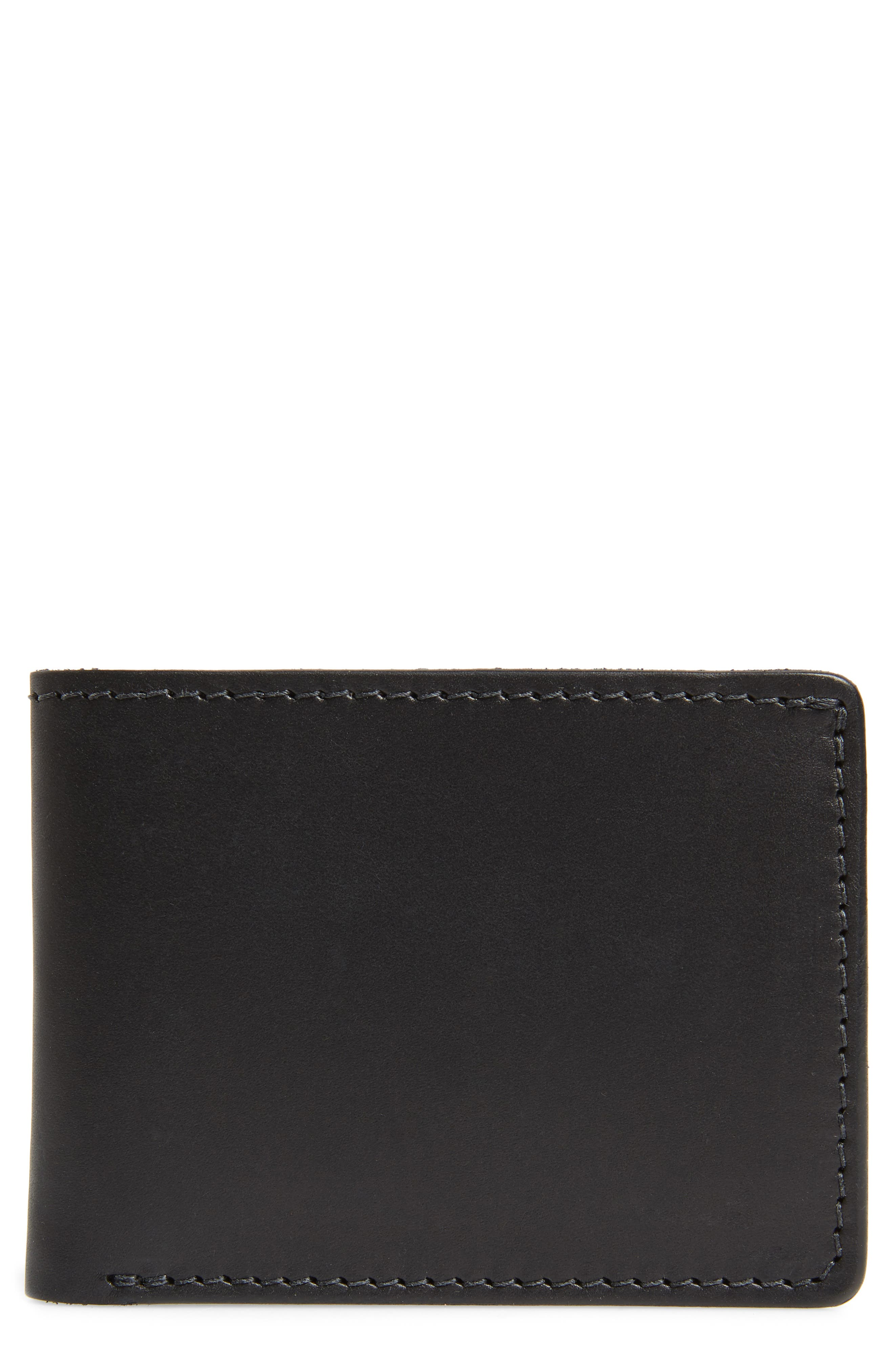 Utility Leather Bifold Wallet,                             Main thumbnail 1, color,                             BLACK