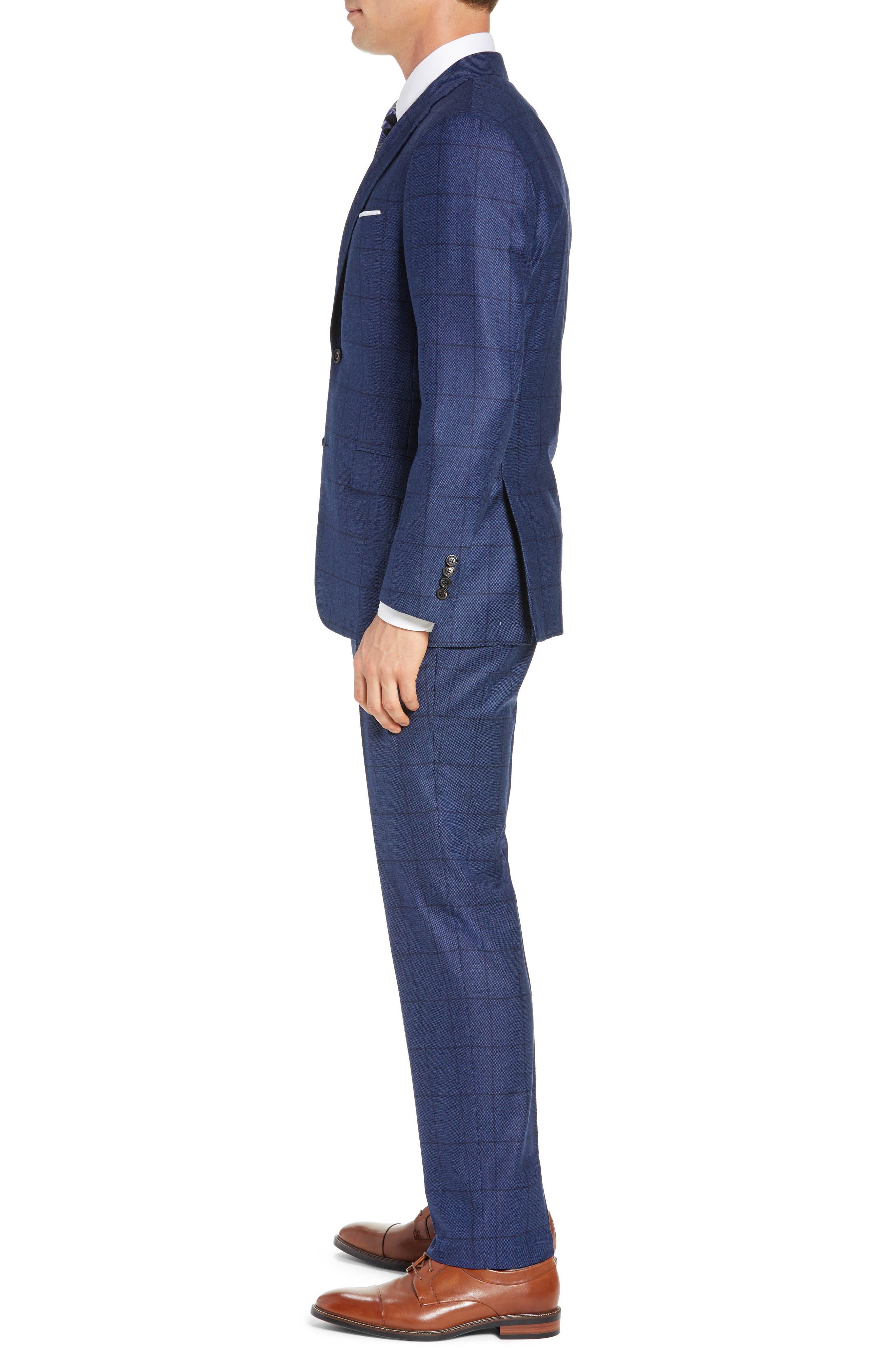 Classic Fit Windowpane Wool & Cashmere Suit,                             Alternate thumbnail 3, color,                             MEDIUM BLUE
