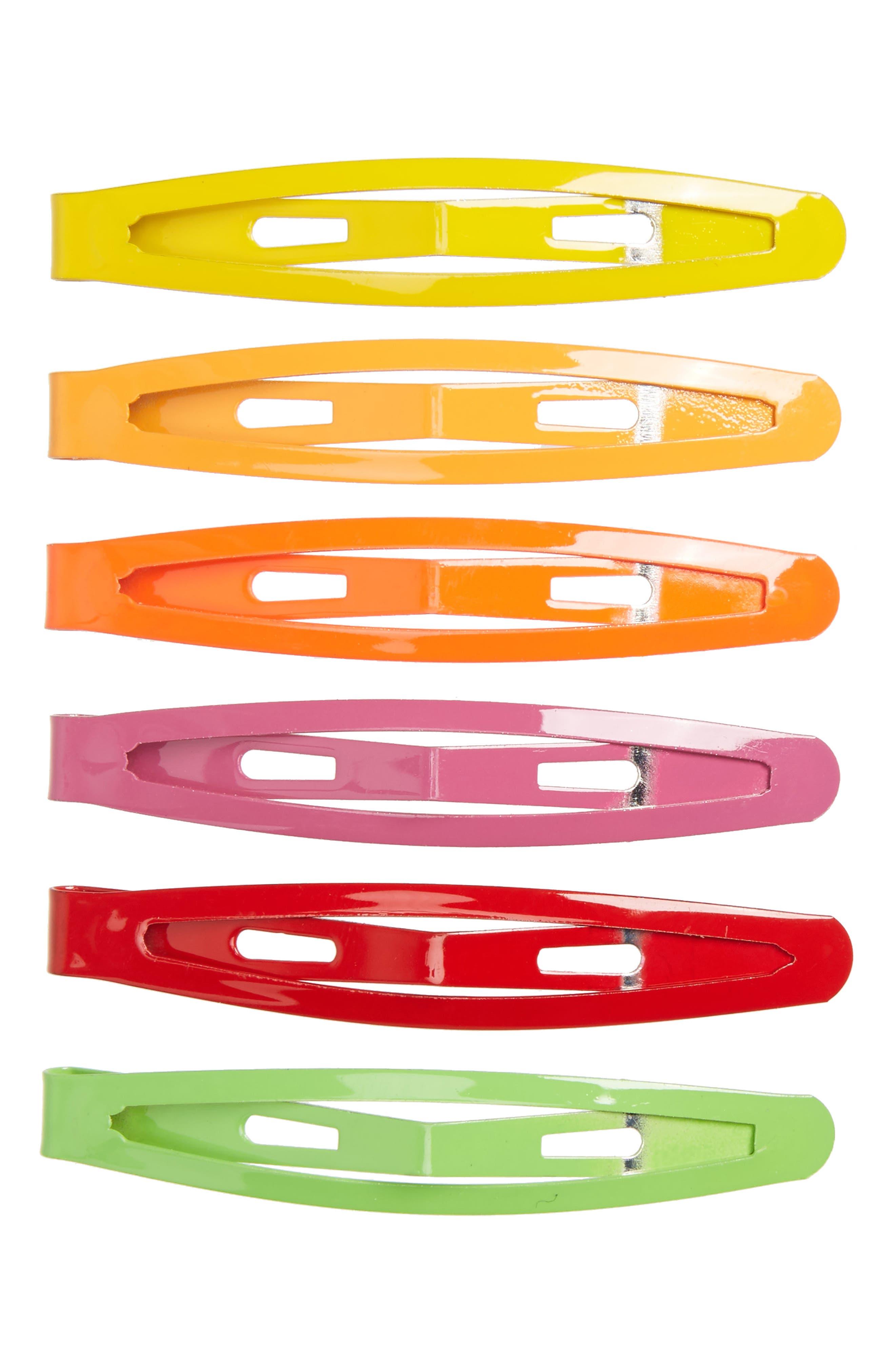 Set of 6 Glossy Hair Clips,                             Main thumbnail 1, color,                             960