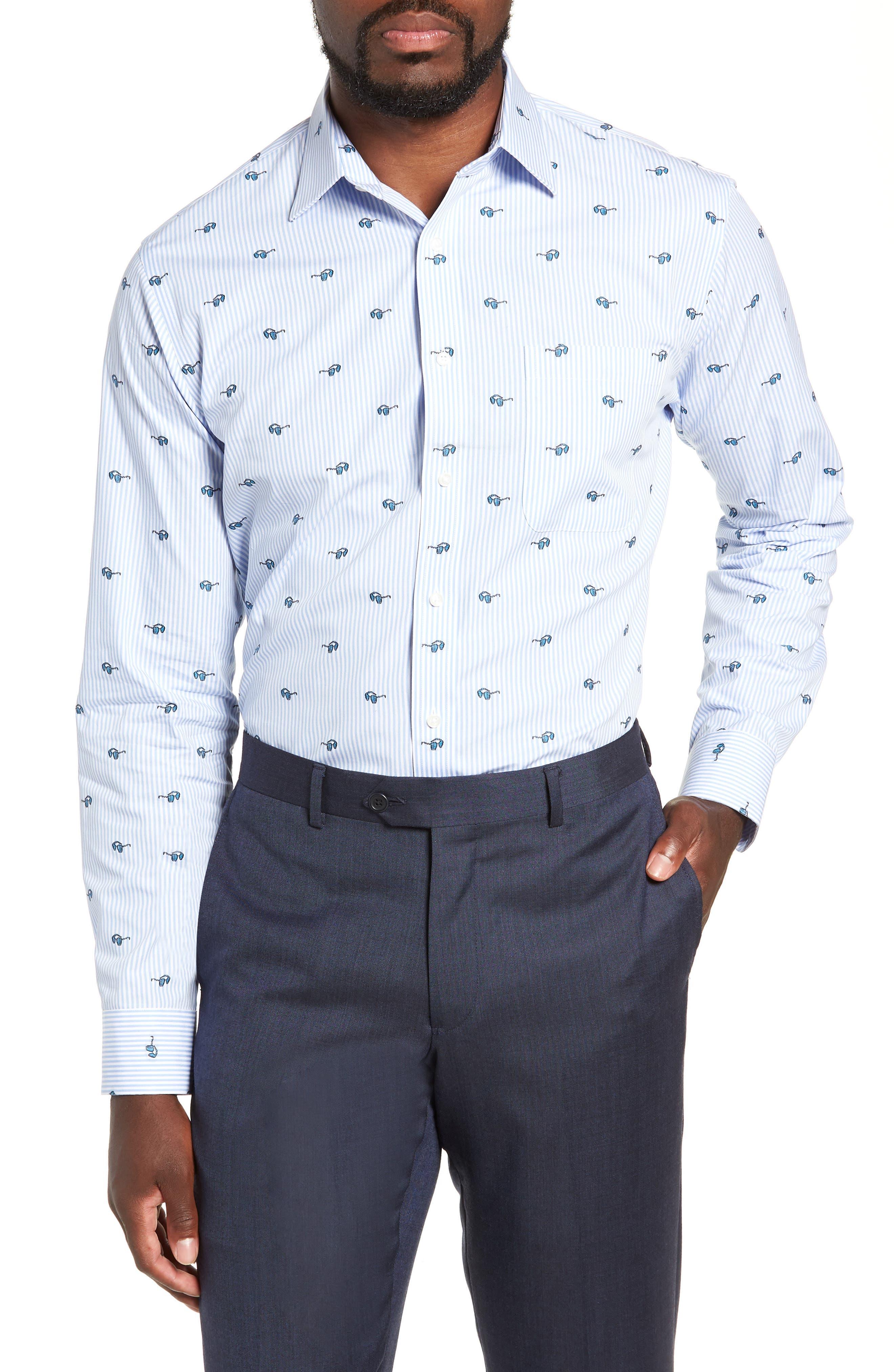 Trim Fit Sunglasses Print Dress Shirt,                         Main,                         color, 450