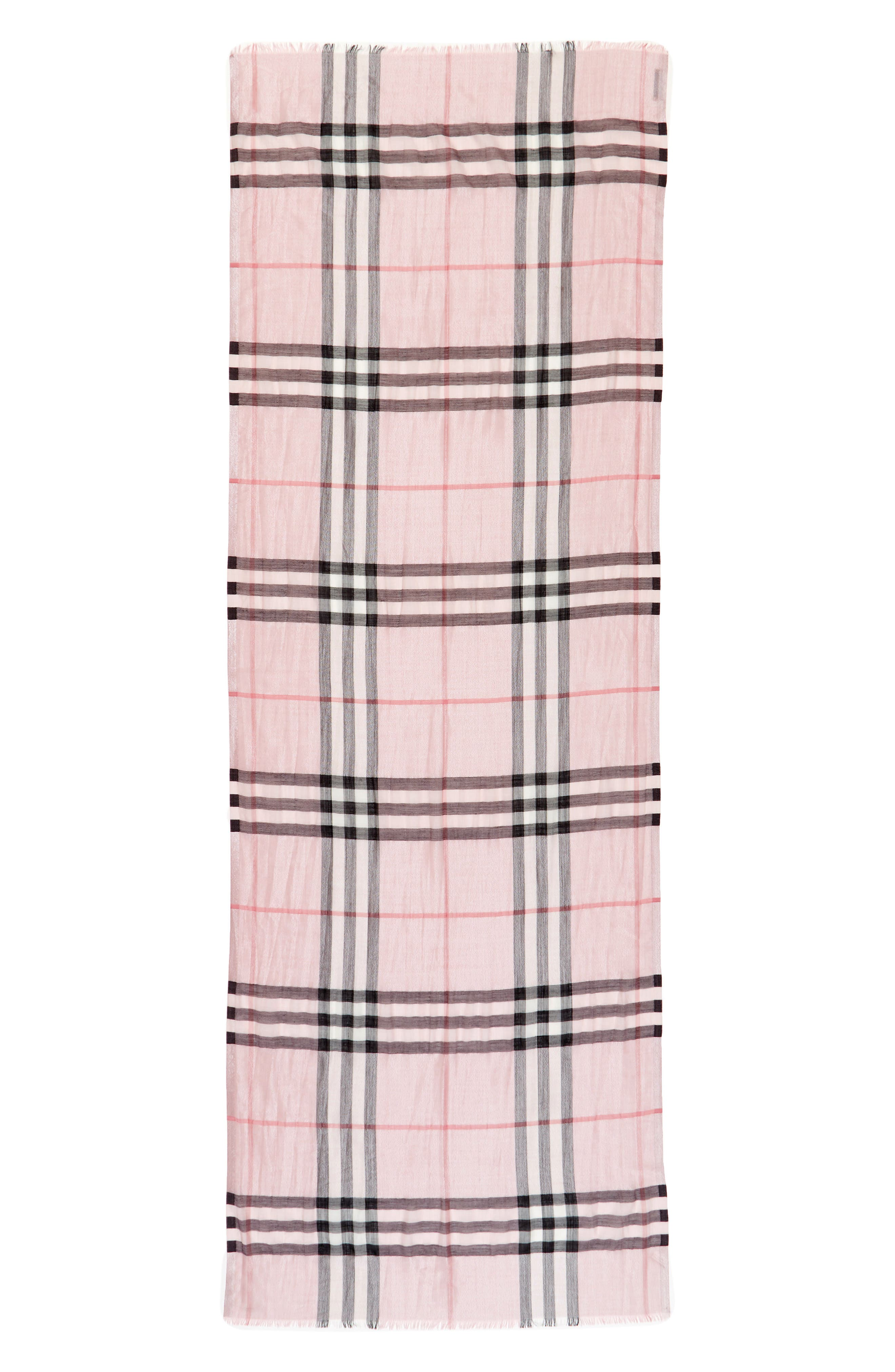 Metallic Giant Check Scarf,                             Alternate thumbnail 3, color,                             ASH ROSE/ SILVER