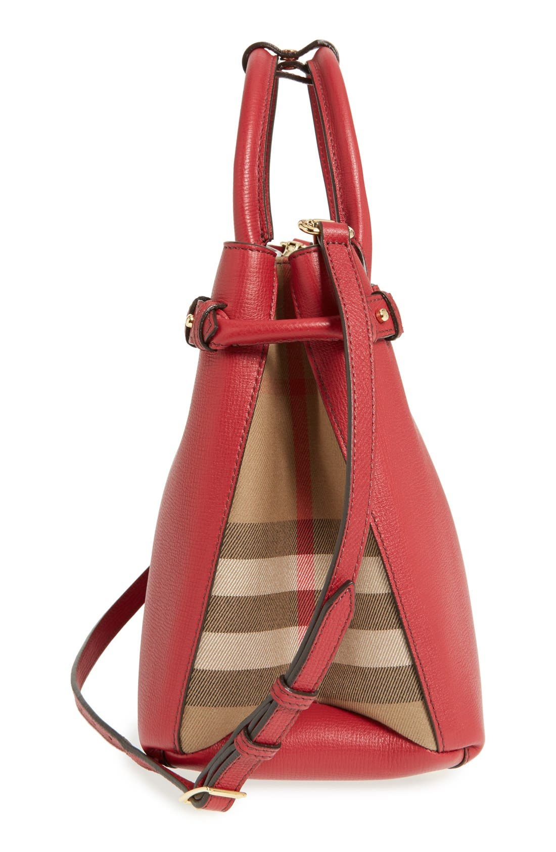 Medium Banner Leather Tote,                             Alternate thumbnail 6, color,                             RUSSET RED