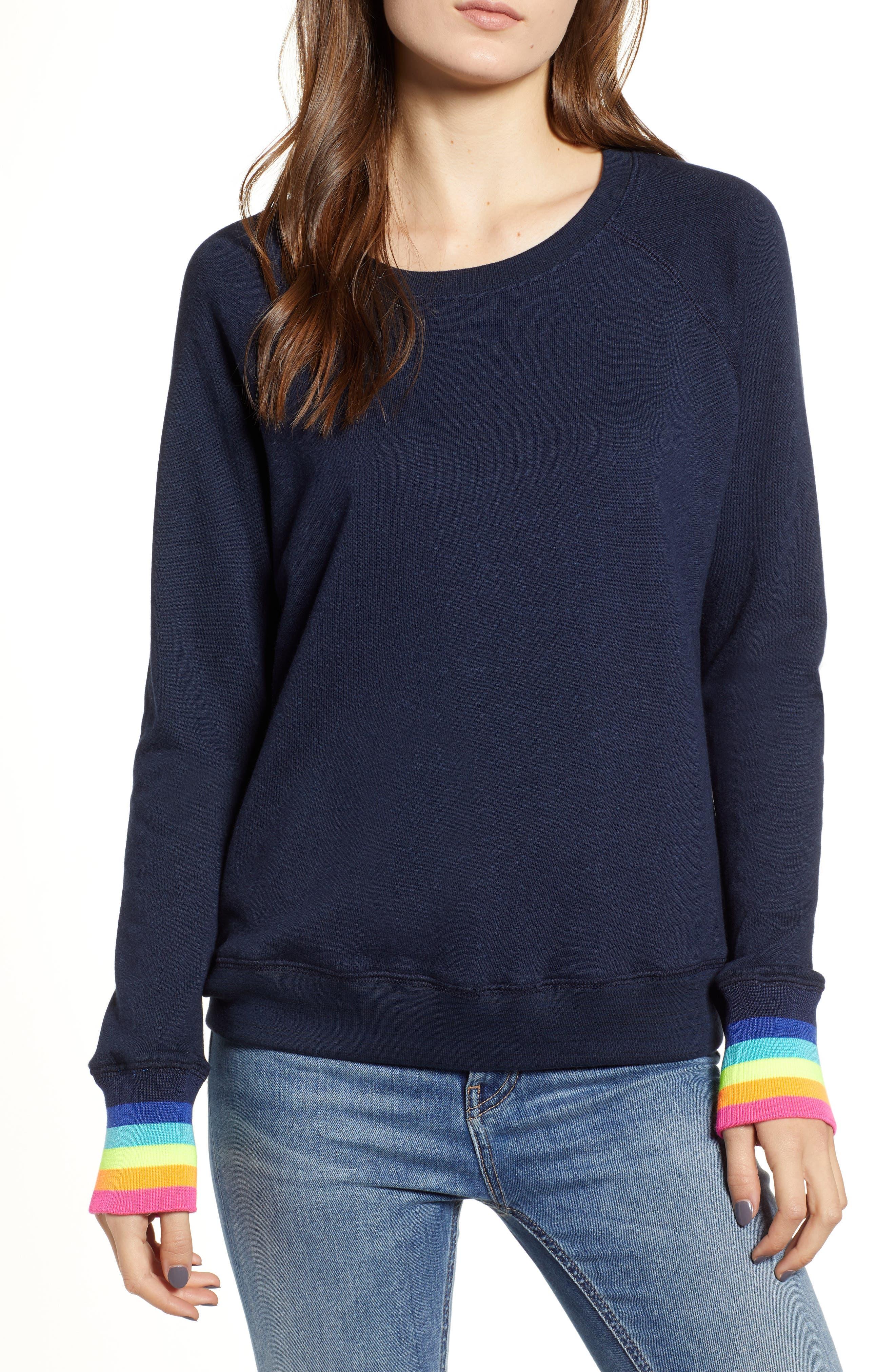 Midnight Stripe Cuff Cotton Blend Sweatshirt,                             Main thumbnail 1, color,                             415
