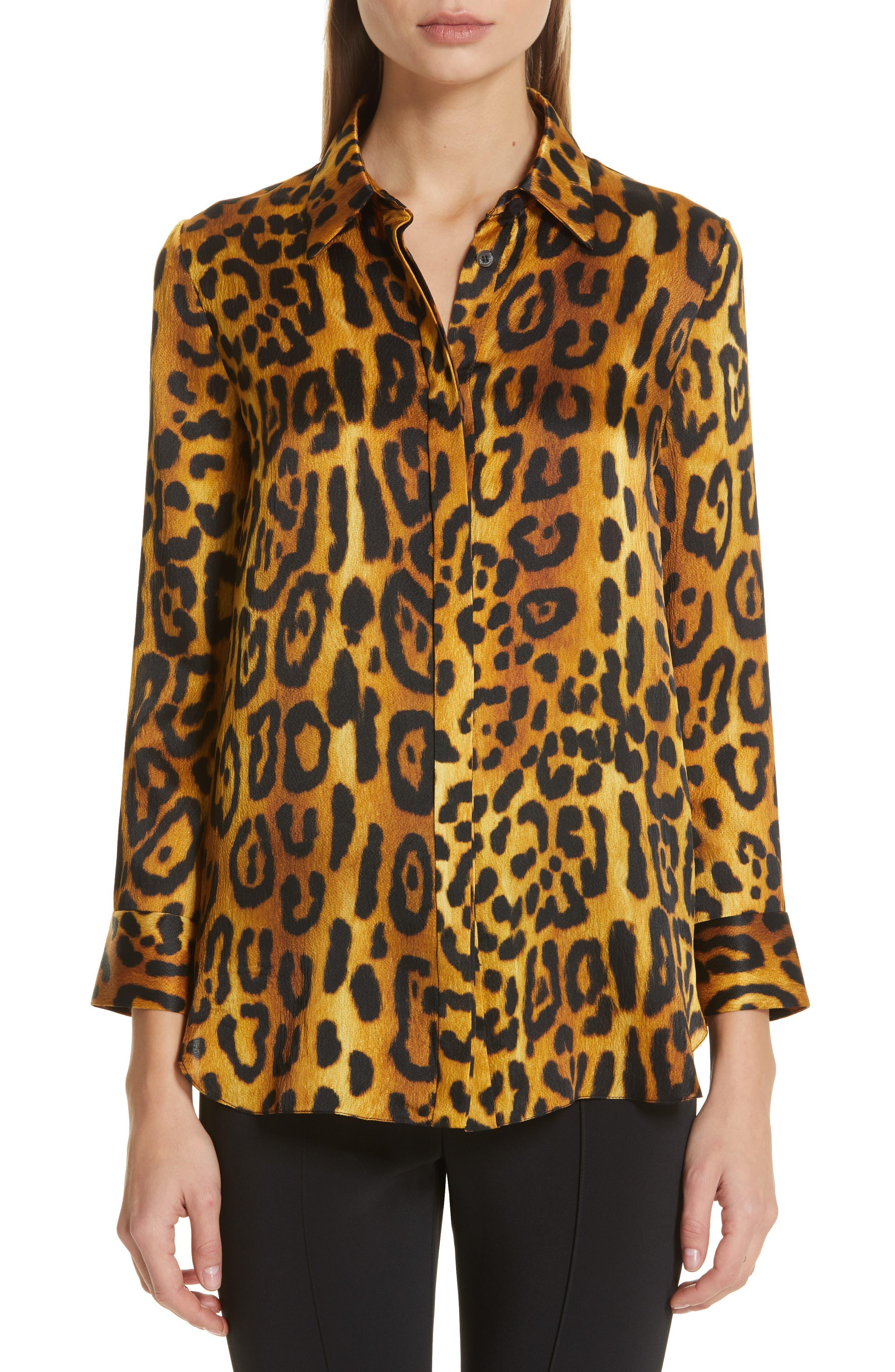 ADAM LIPPES Jaguar Print Silk Top, Main, color, JAGUAR