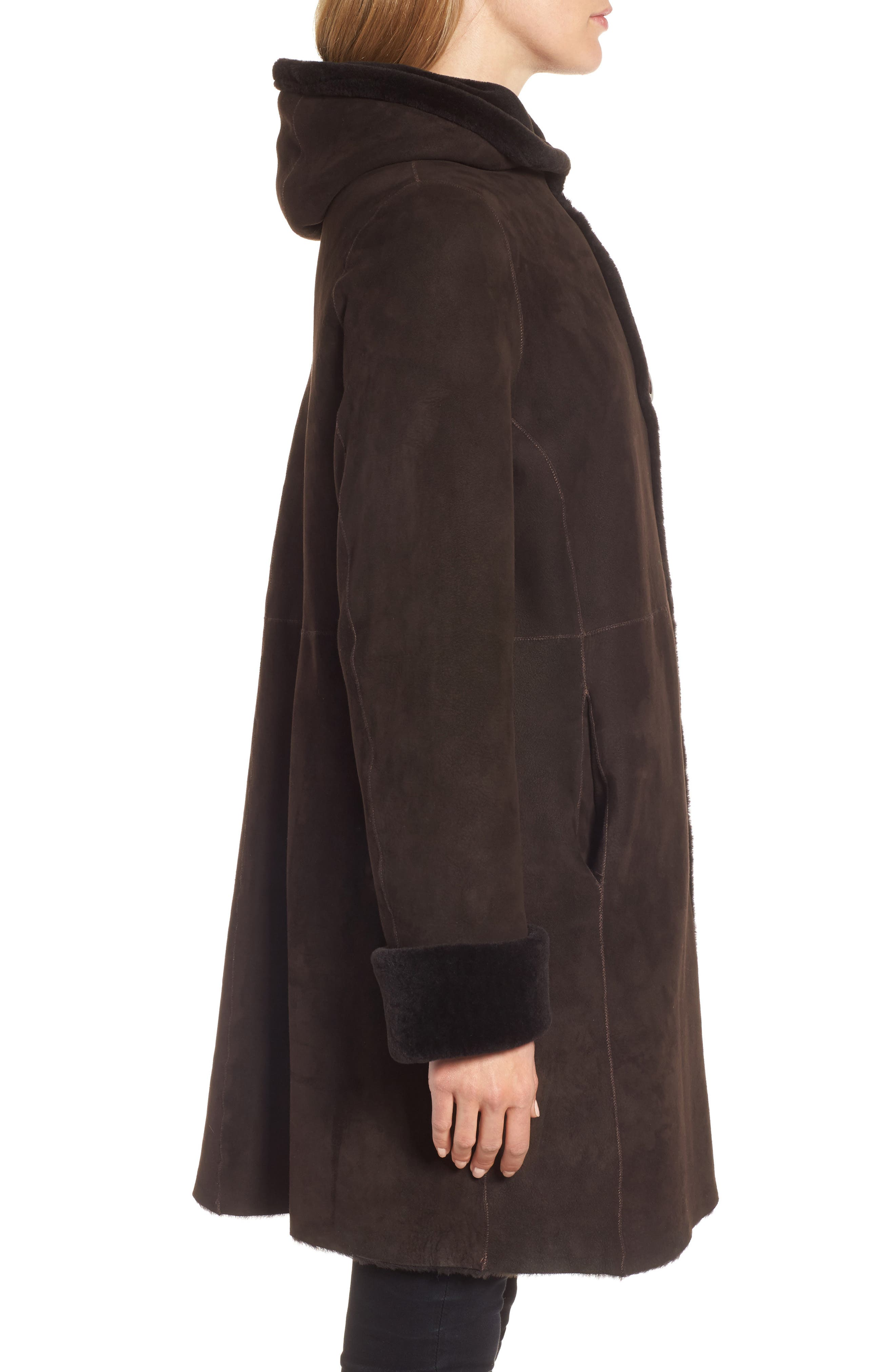 Hooded Genuine Shearling Coat,                             Alternate thumbnail 3, color,
