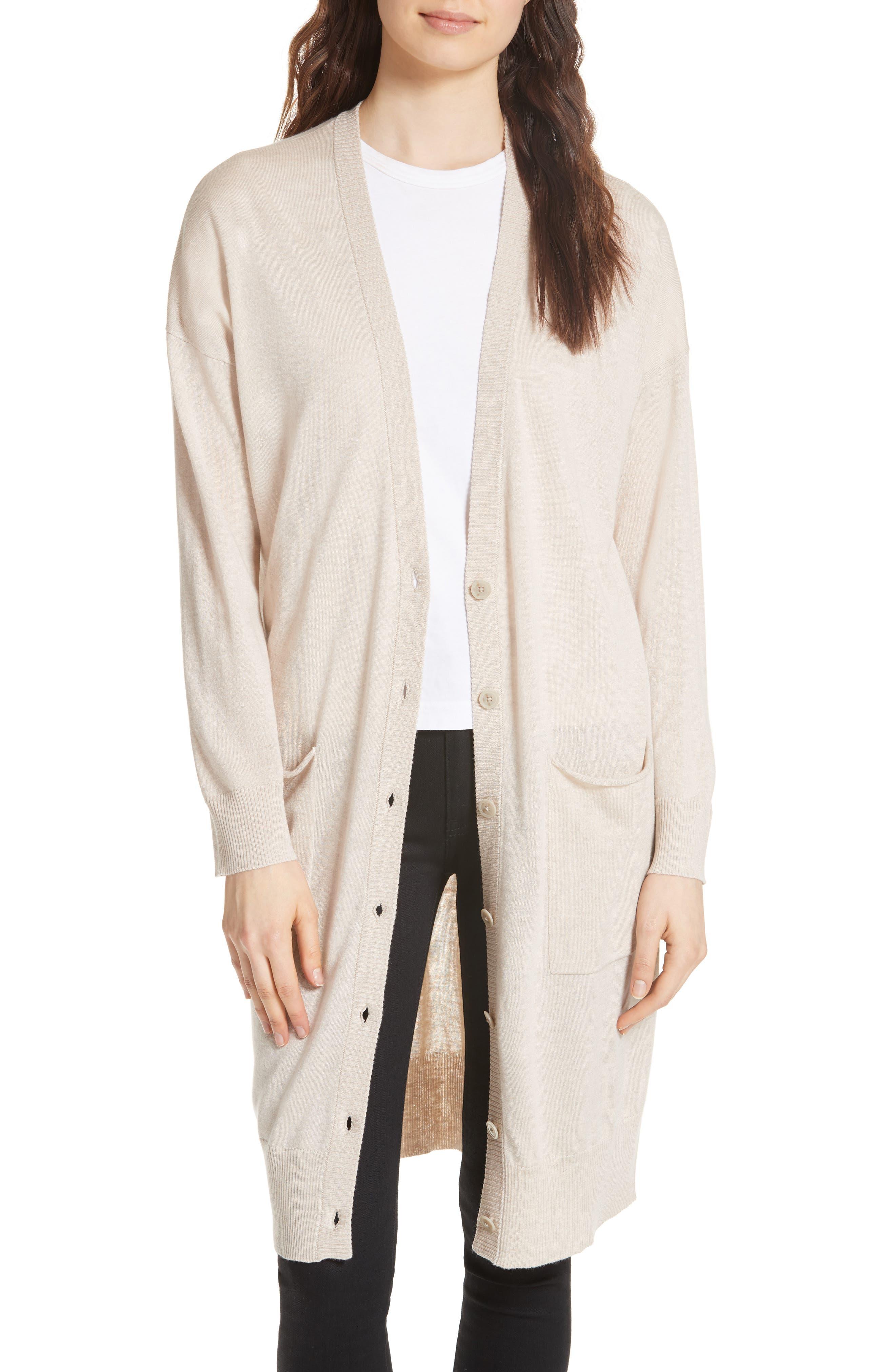 Long Silk Blend Cardigan,                         Main,                         color, BEIGE