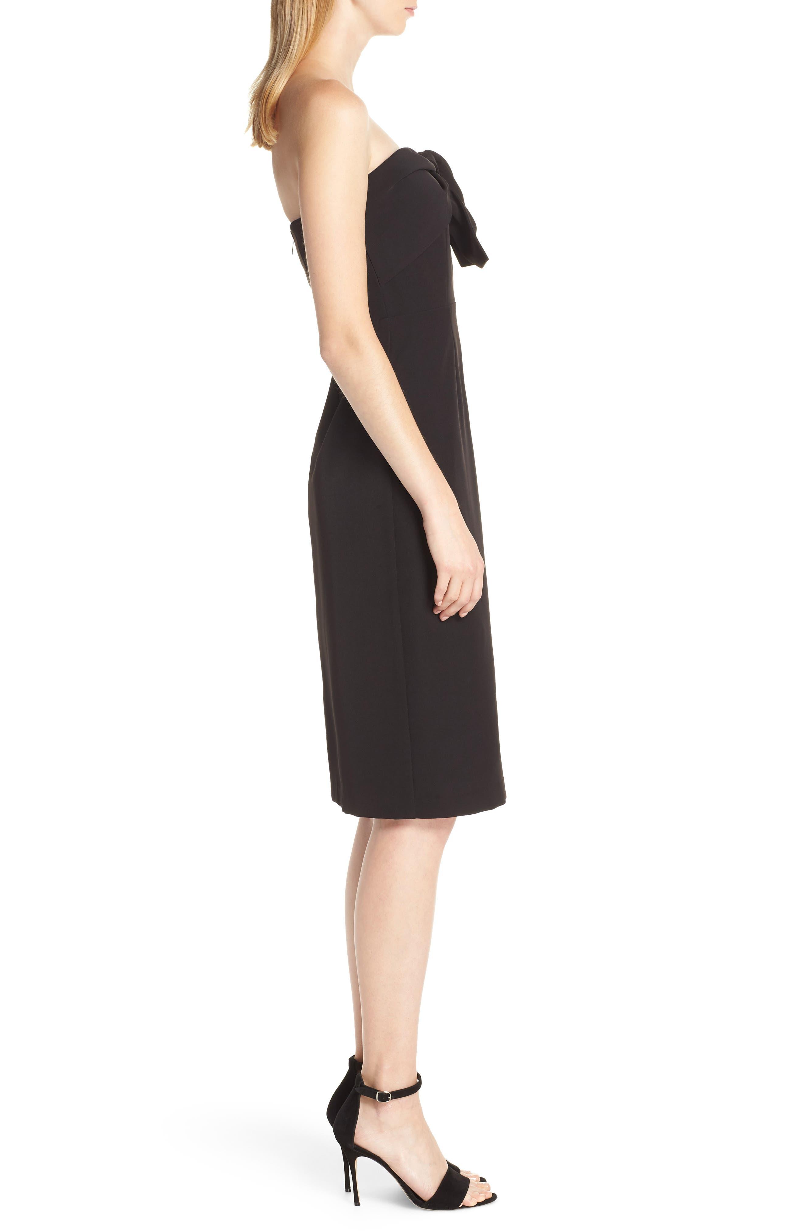 Strapless Bow Detail Sheath Dress,                             Alternate thumbnail 3, color,                             BLACK