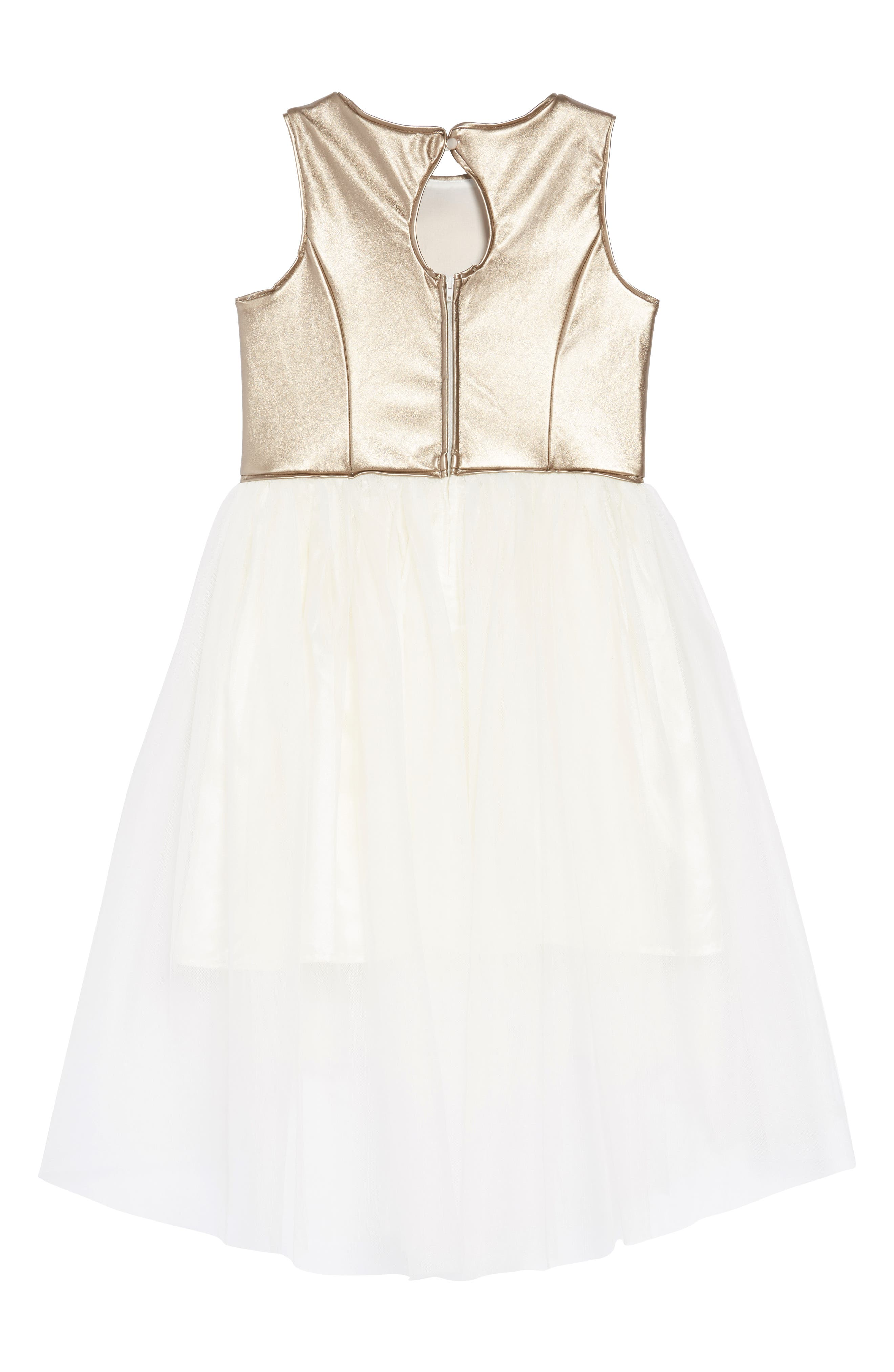 Metallic High/Low Tulle Dress,                             Alternate thumbnail 2, color,                             GOLD/ IVORY