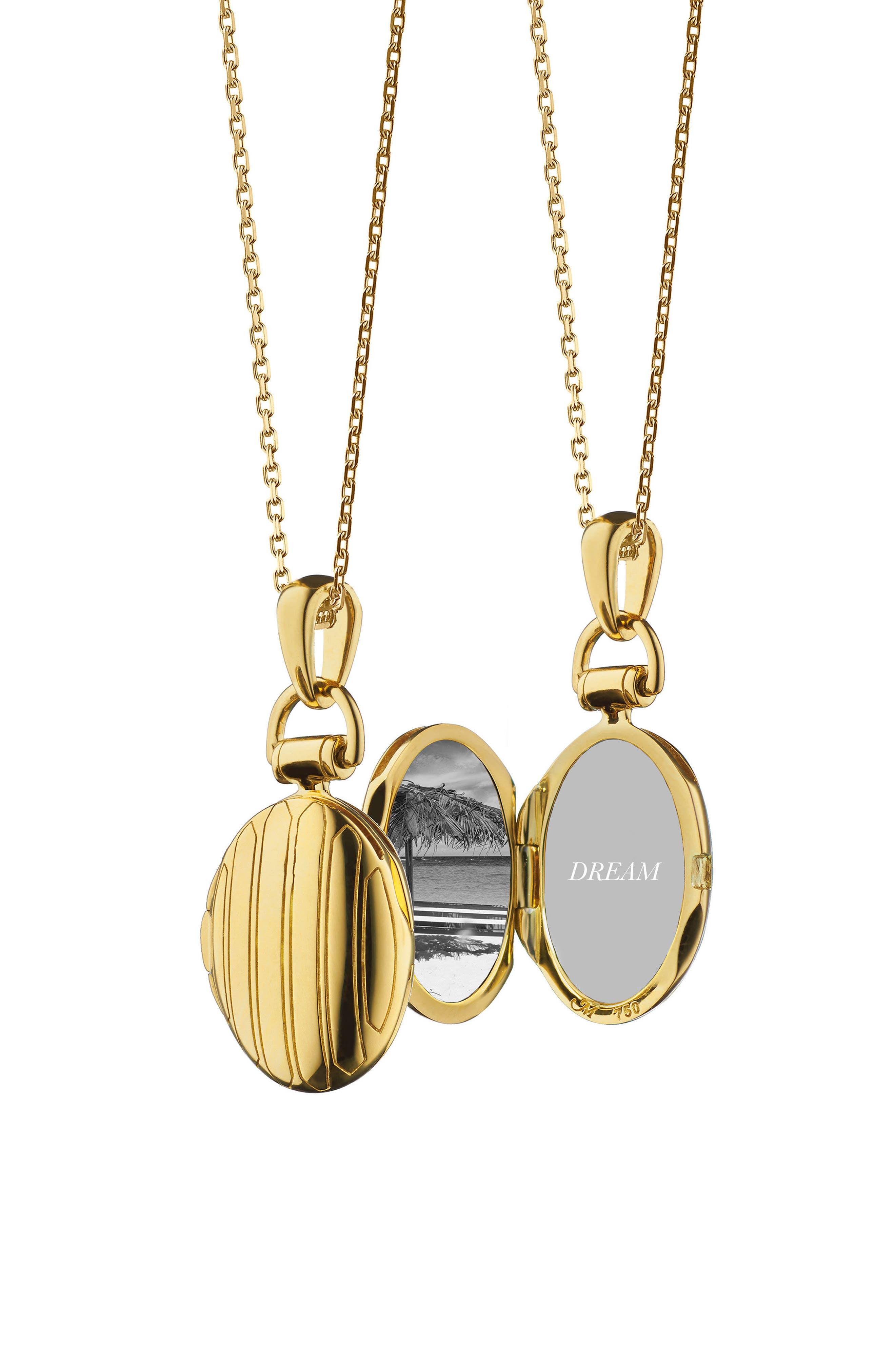 Petite Pinstripe Locket Necklace,                         Main,                         color, 18K YELLOW GOLD