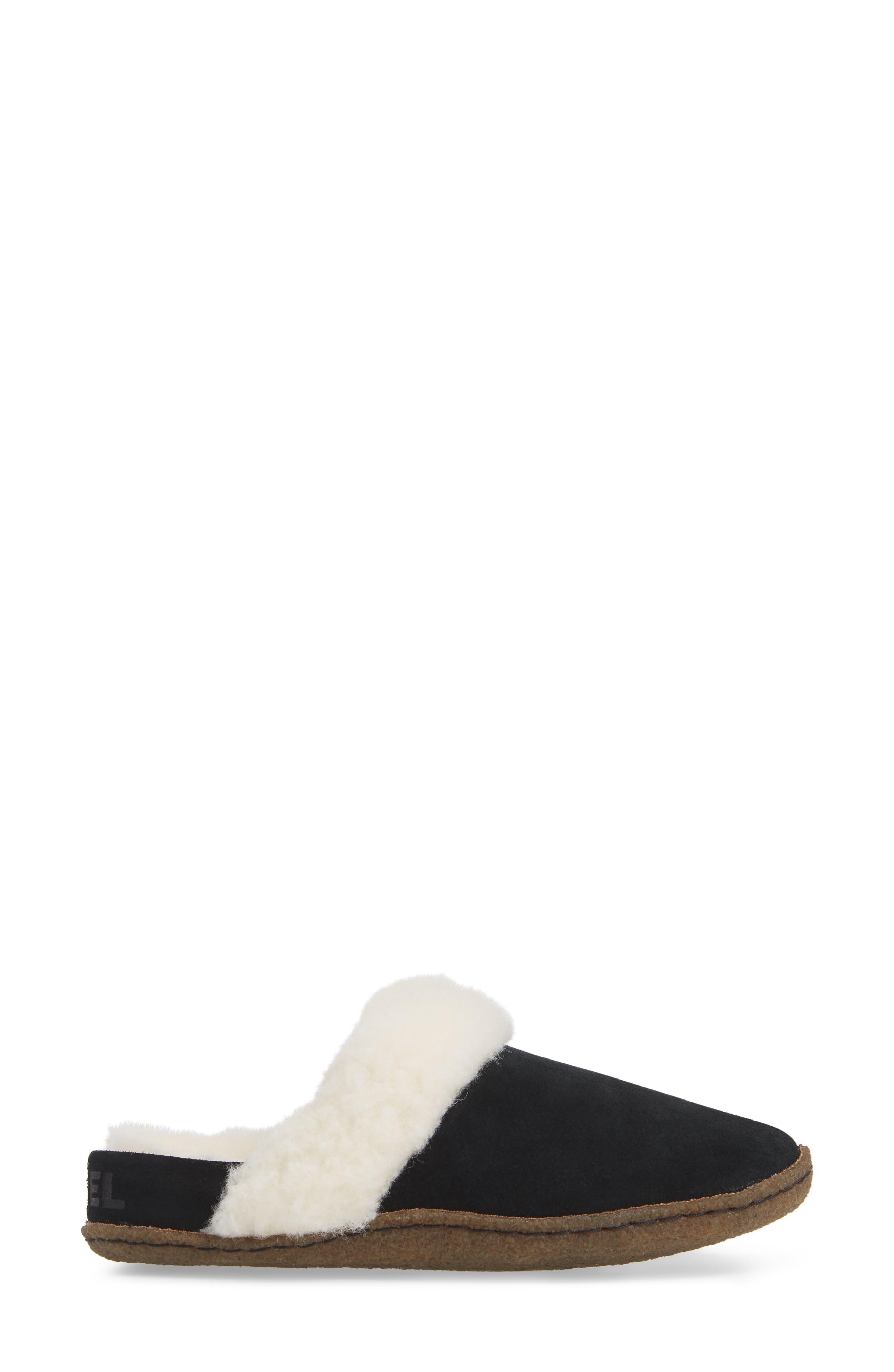 Nakiska II Faux Shearling Lined Slide Slipper,                             Alternate thumbnail 3, color,                             BLACK/ NATURAL