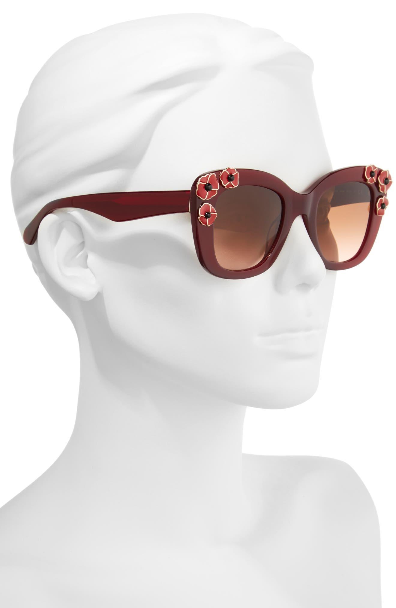 kate spade drystle 49mm floral embellished square sunglasses,                             Alternate thumbnail 4, color,
