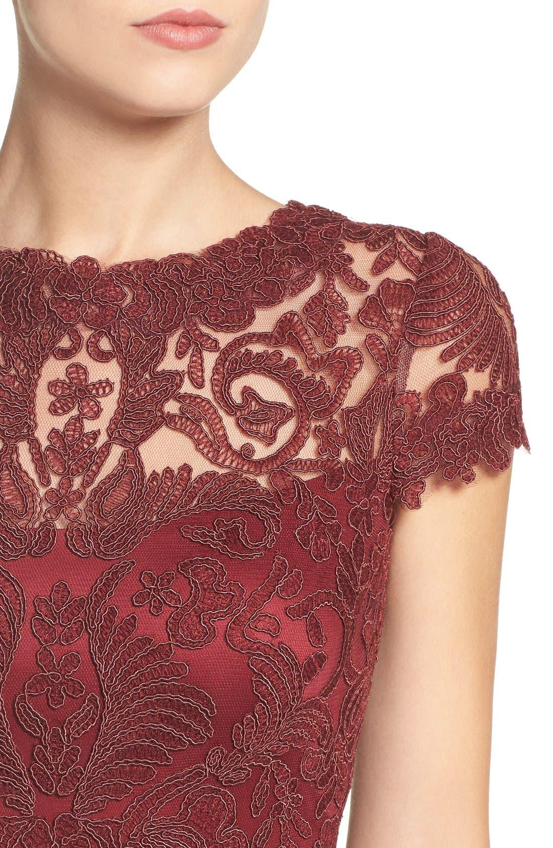 Illusion Yoke Lace Sheath Dress,                             Alternate thumbnail 100, color,