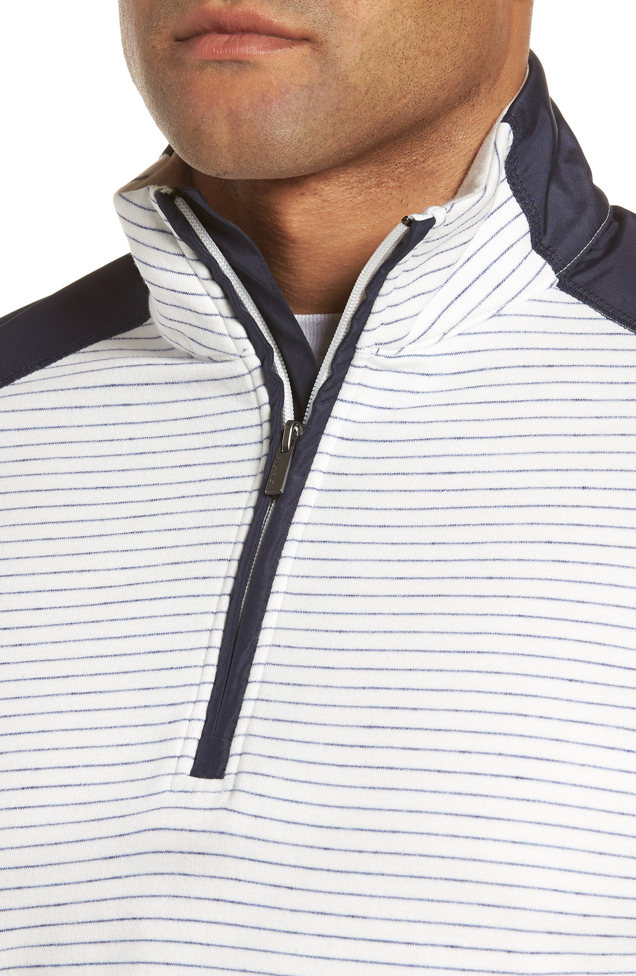 Regular Fit Stripe Quarter Zip Pullover,                             Alternate thumbnail 18, color,