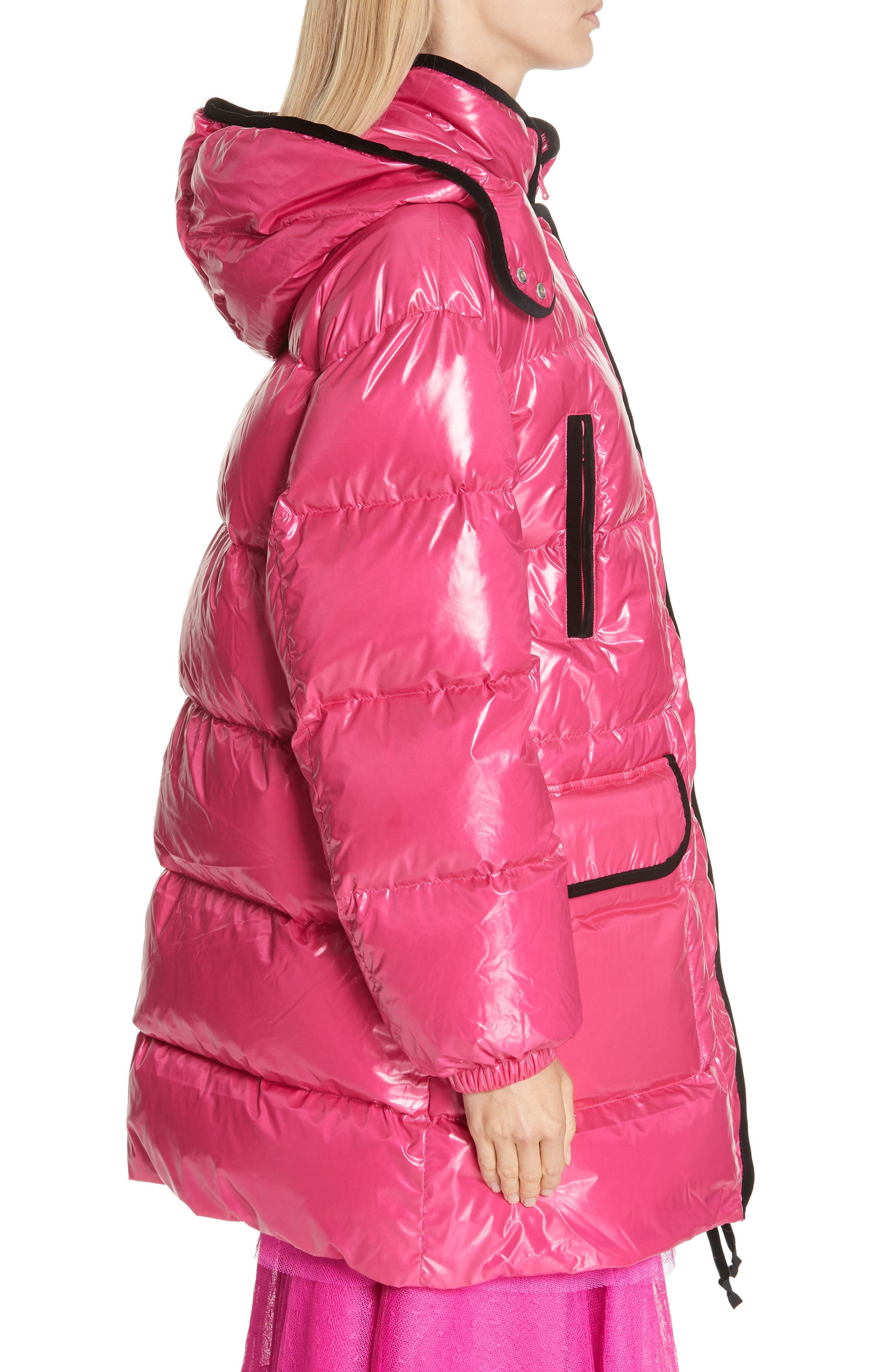 RED VALENTINO,                             Puffer Coat,                             Alternate thumbnail 3, color,                             650