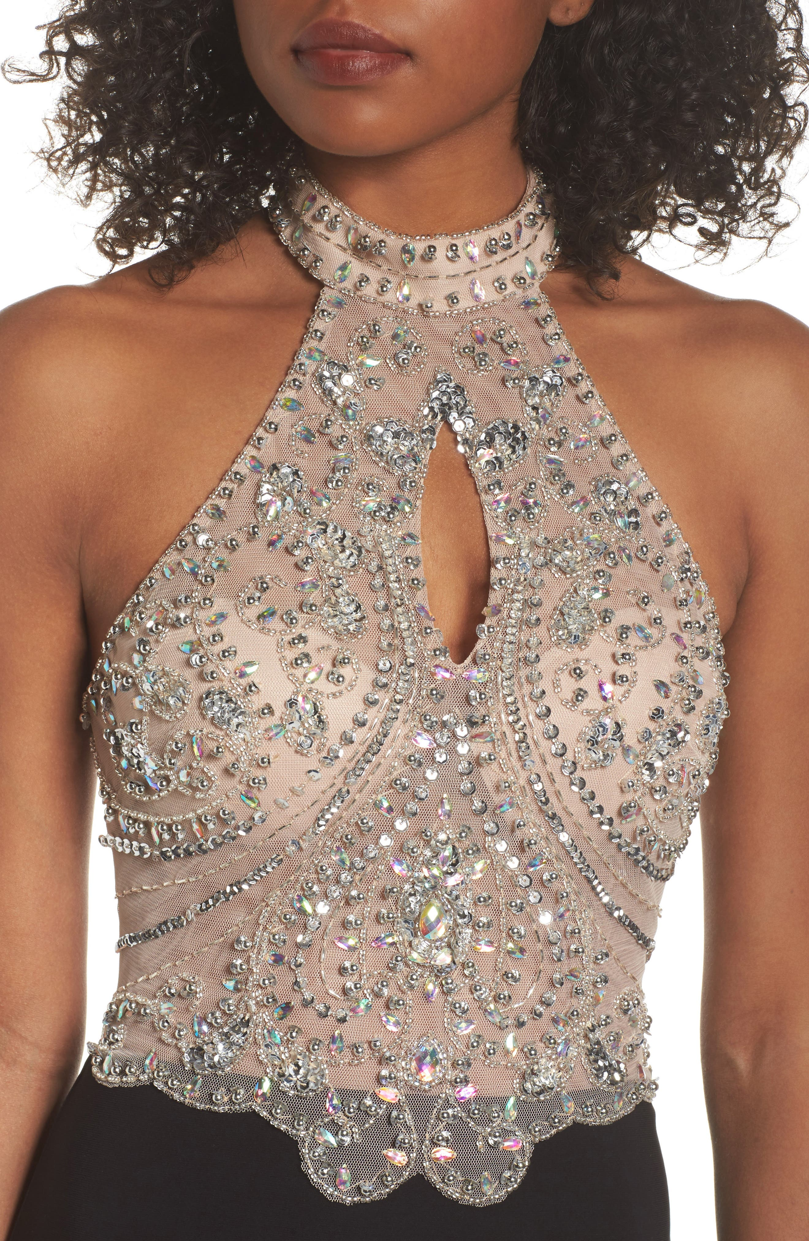 Embellished Bodice Halter Knit Gown,                             Alternate thumbnail 4, color,                             015