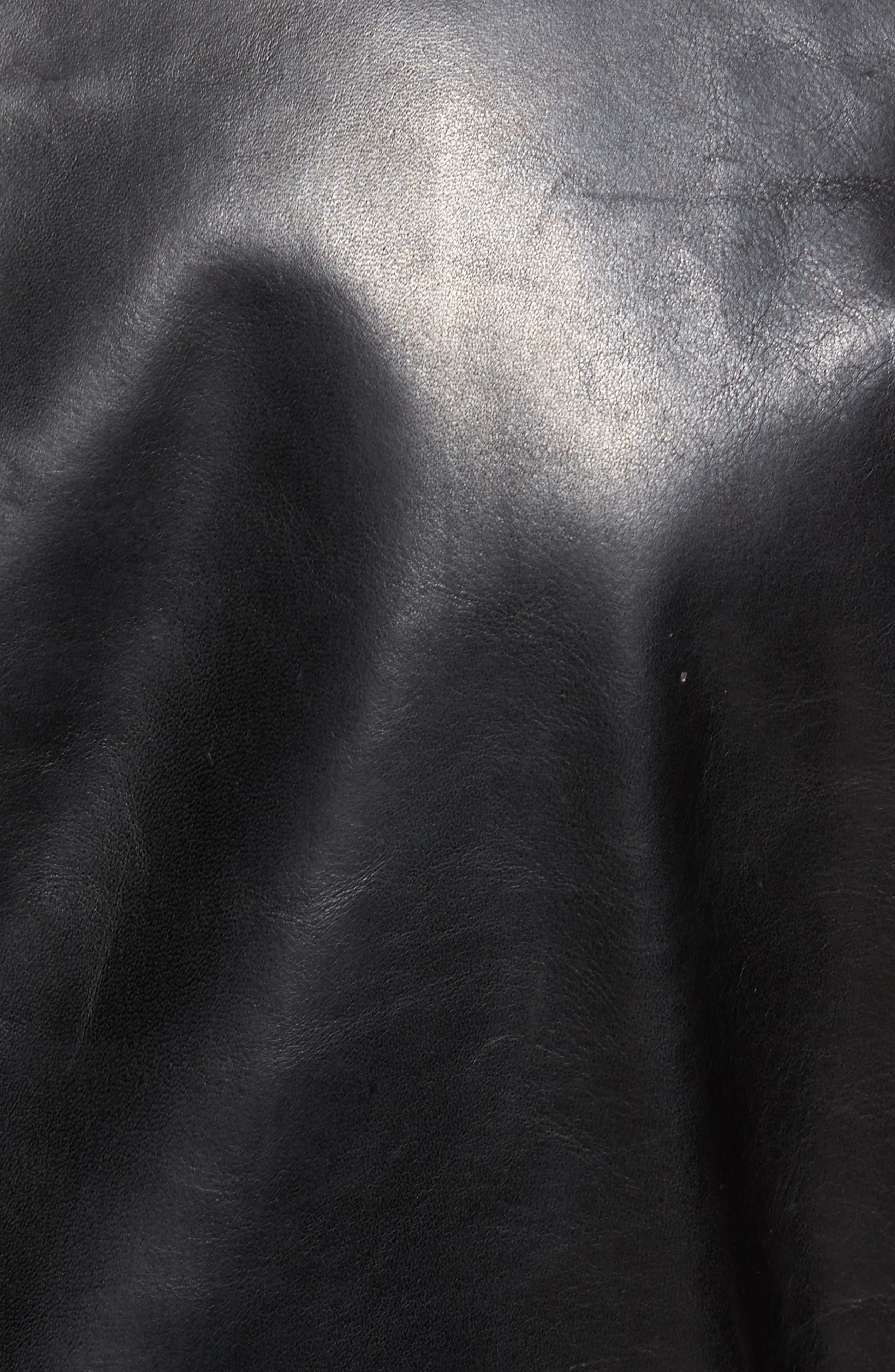 Café Racer Unlined Cowhide Leather Jacket,                             Alternate thumbnail 6, color,                             BLACK