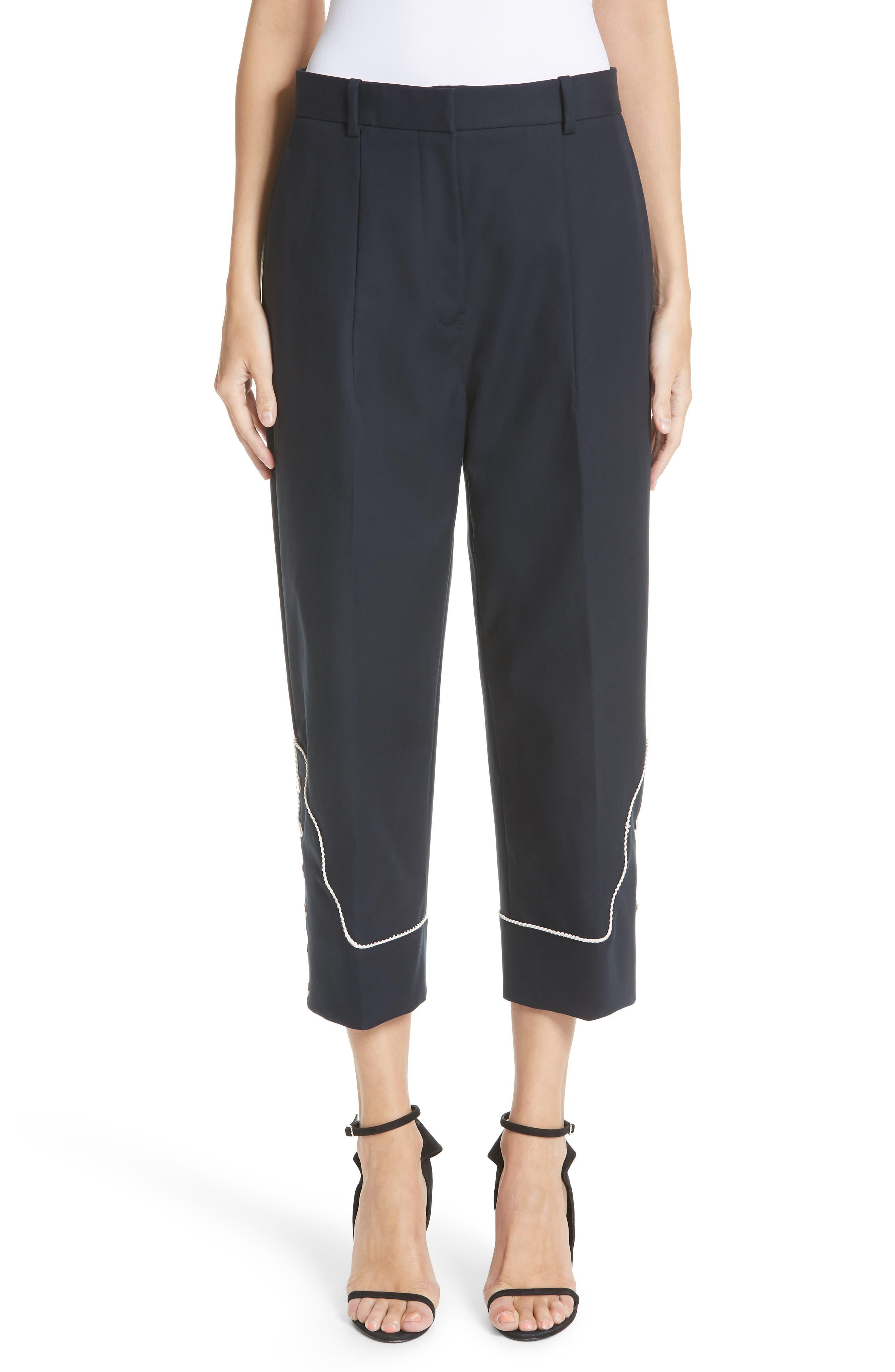 Snap Hem Wide Leg Pants,                         Main,                         color, NAVY