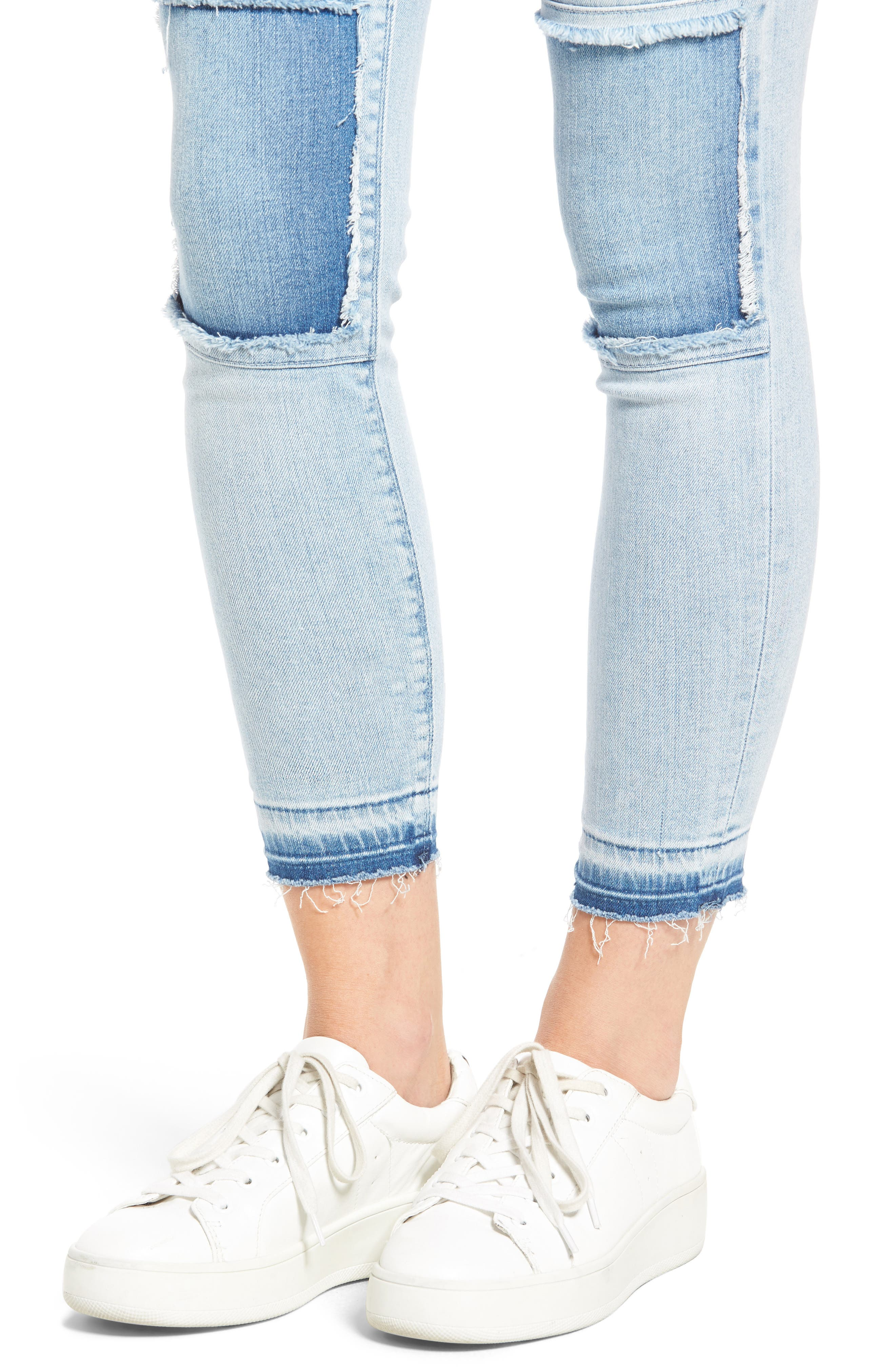 Szzi Mid Rise Patched Skinny Jeans,                             Alternate thumbnail 4, color,                             455