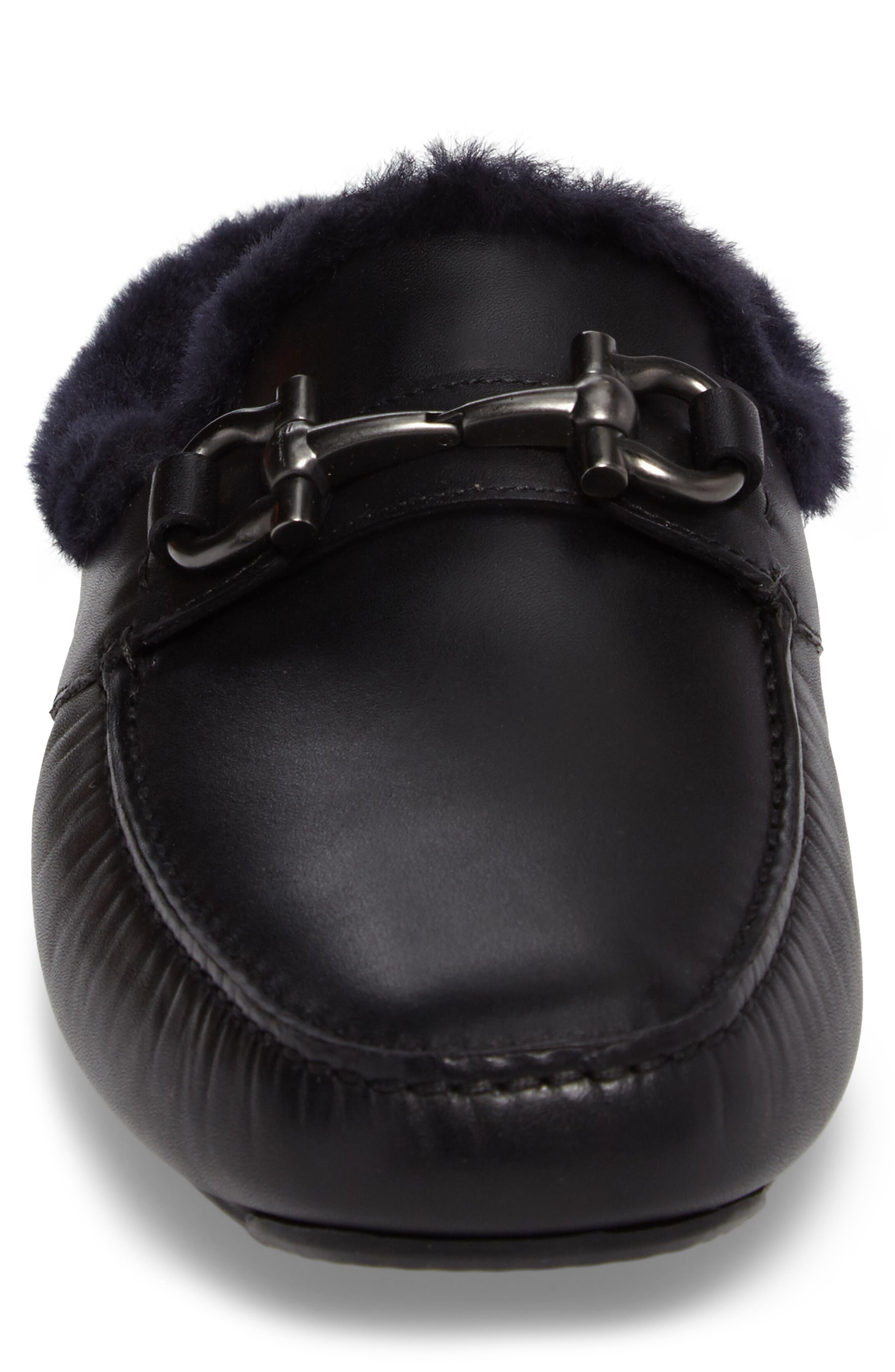 Driving Loafer with Genuine Shearling,                             Alternate thumbnail 4, color,                             001