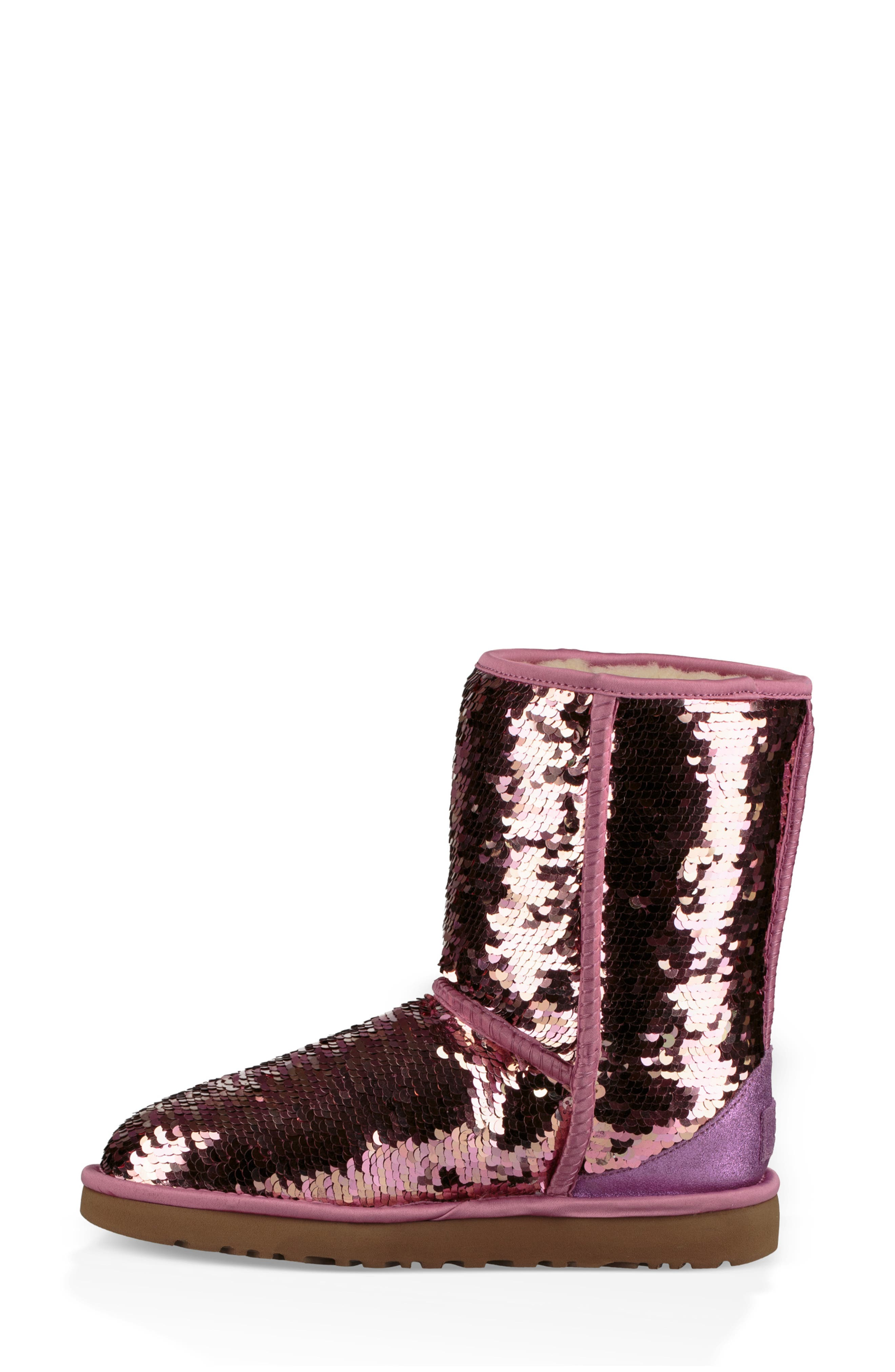 UGG<SUP>®</SUP>,                             Classic Short Sequin Boot,                             Alternate thumbnail 7, color,                             PINK