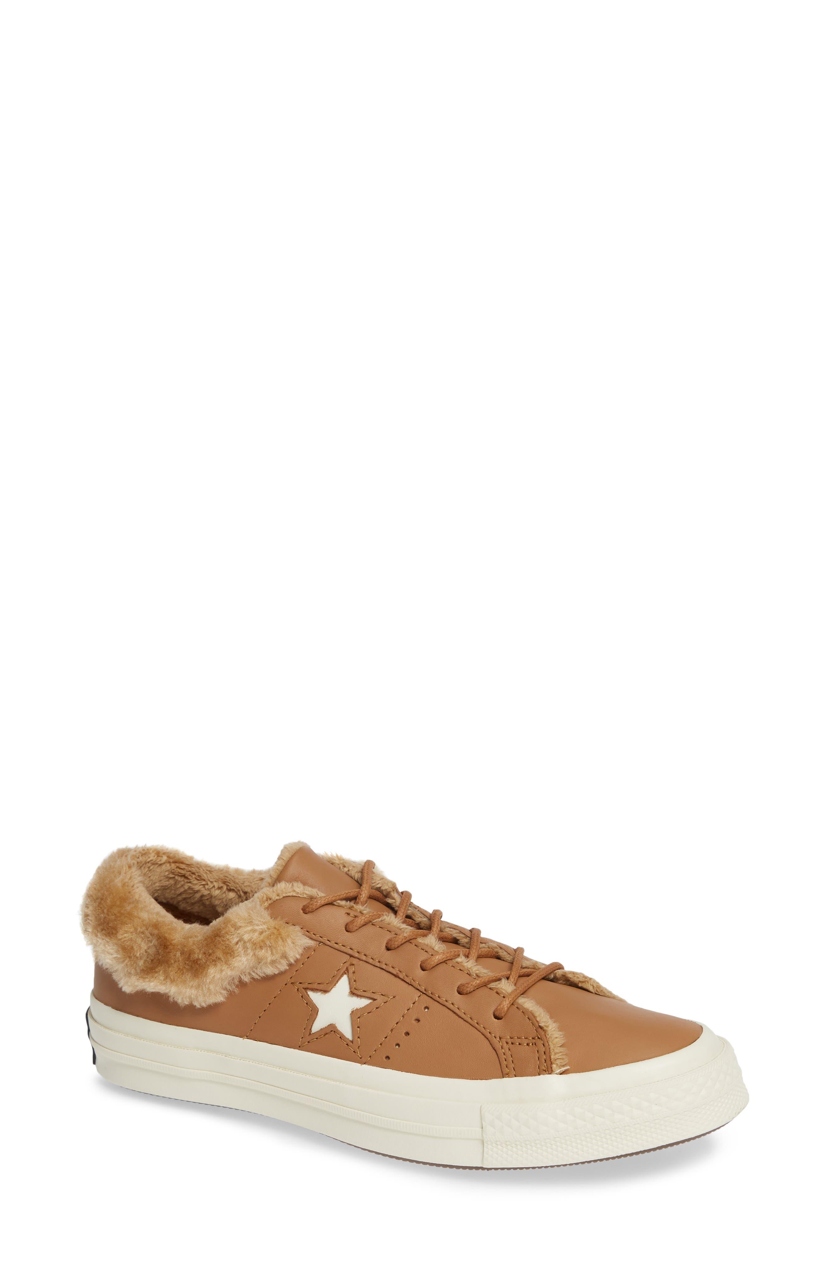 One Star Street Warmer Faux Fur Lined Low Top Sneaker in Burnt Caramel