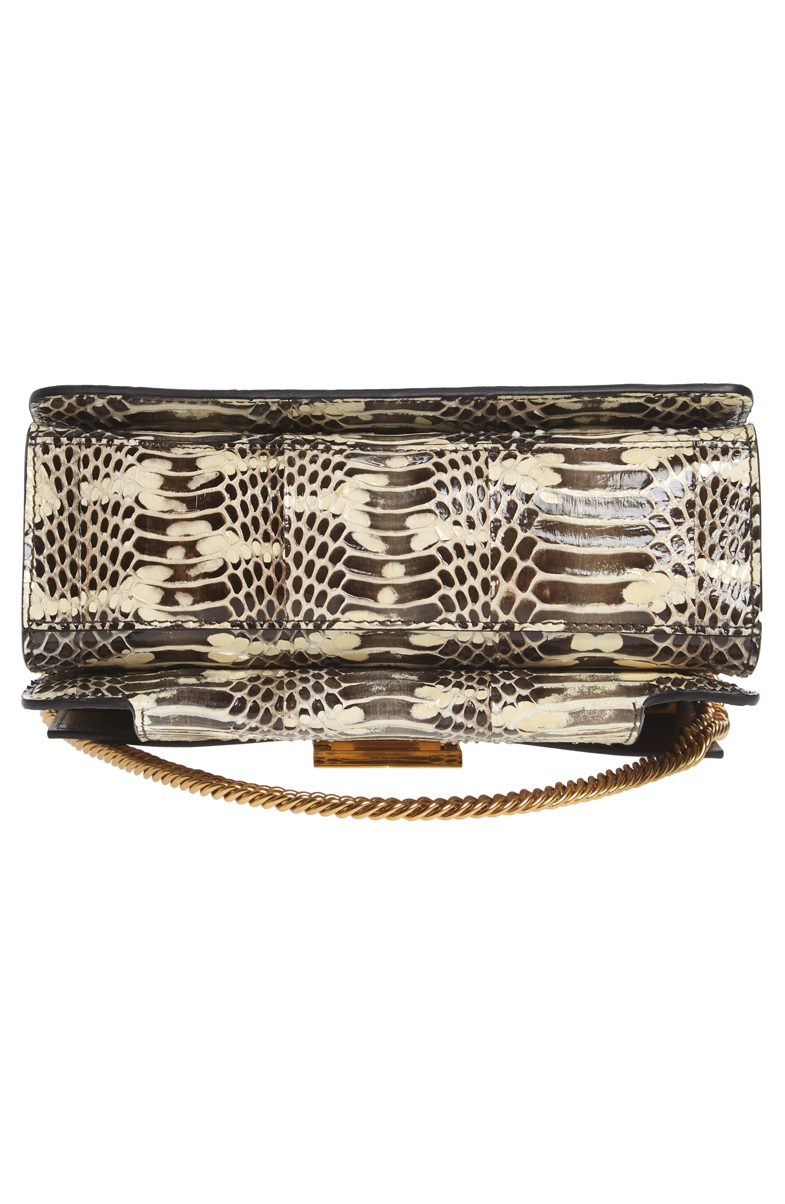 Small GV3 Genuine Snakeskin & Leather Crossbody Bag,                             Alternate thumbnail 6, color,                             001