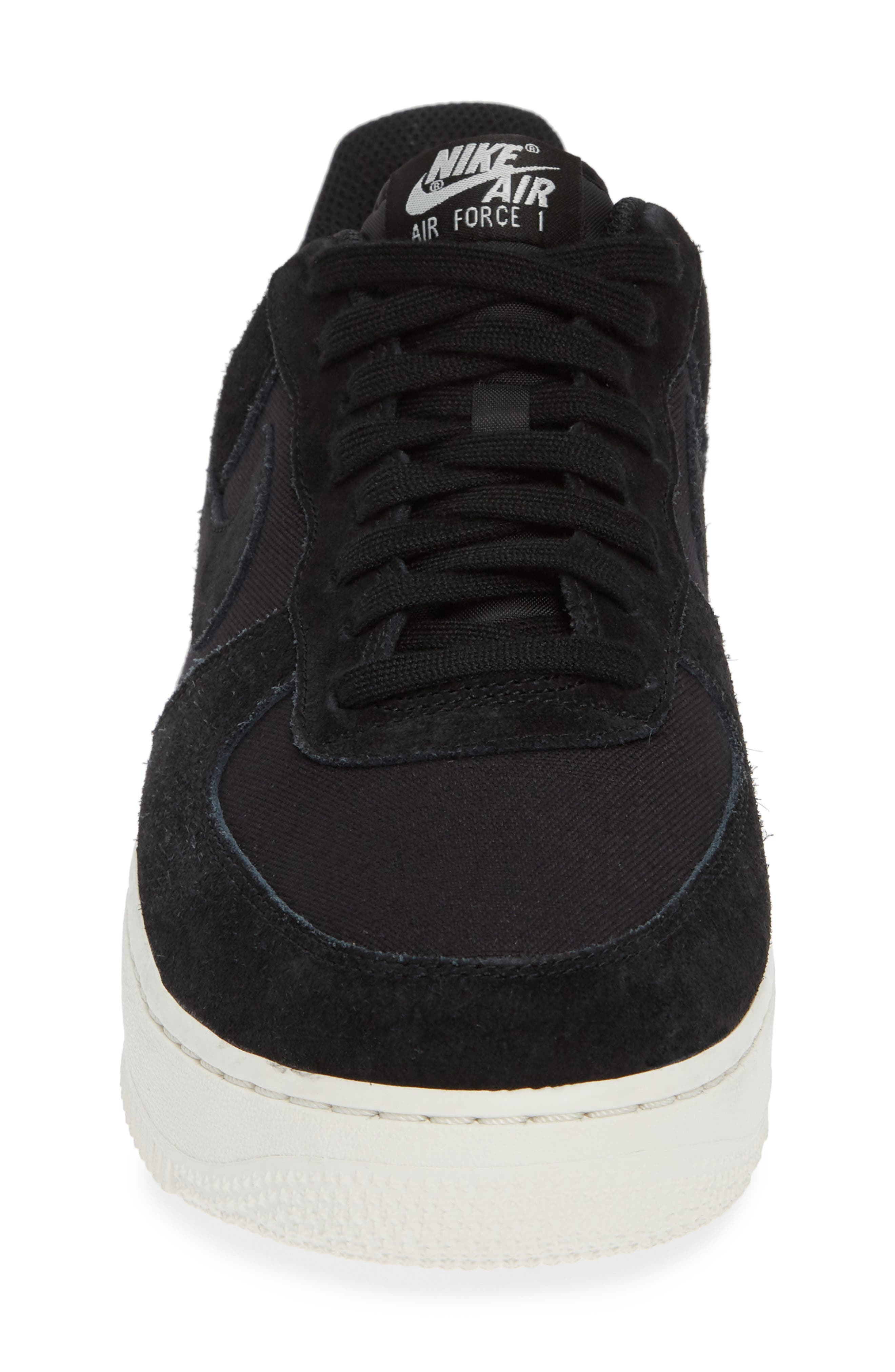 Air Force 1 '07 Suede Sneaker,                             Alternate thumbnail 4, color,                             BLACK/ SAIL