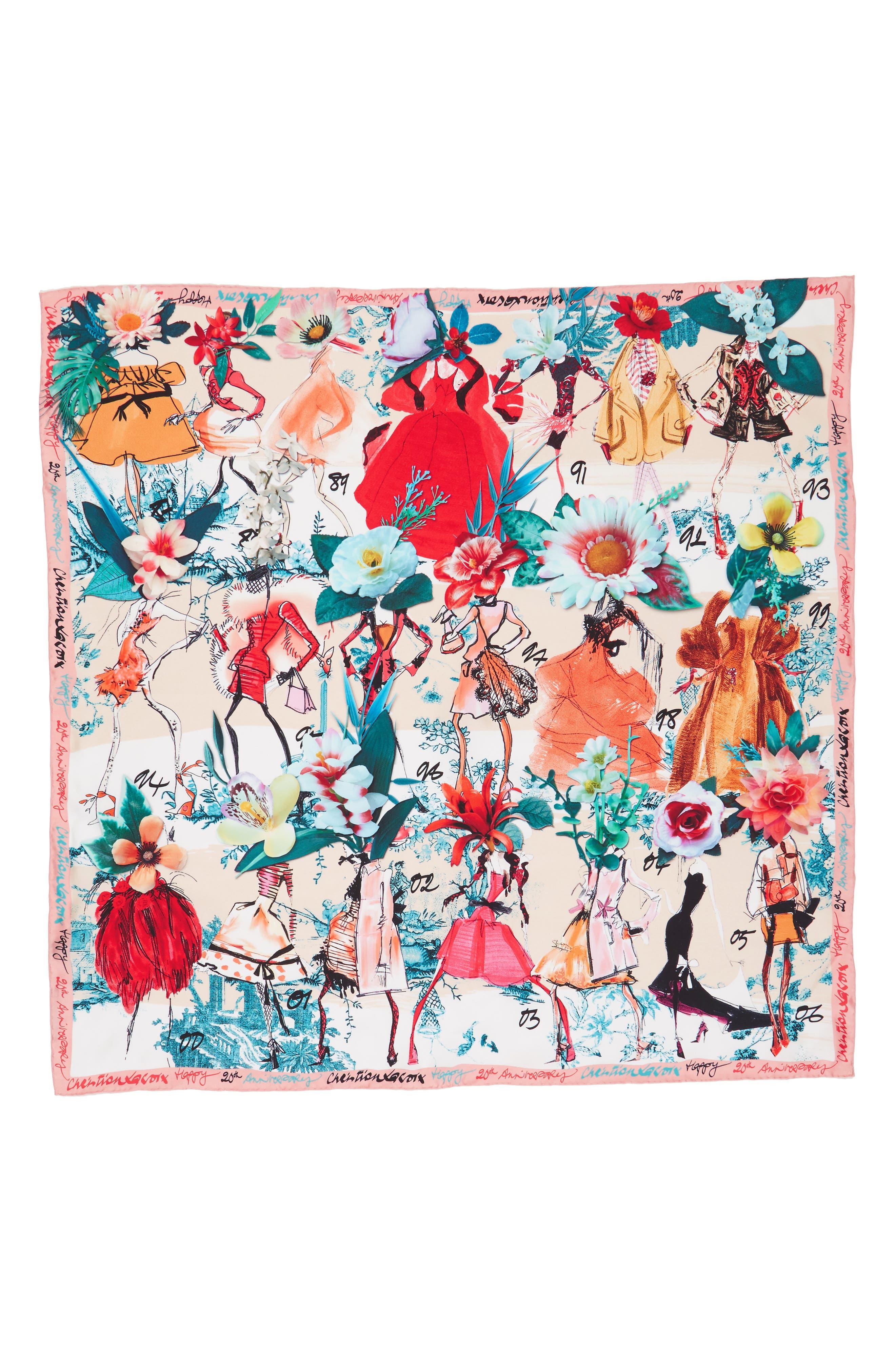 Les Filles en Fleur Square Silk Scarf,                             Alternate thumbnail 10, color,