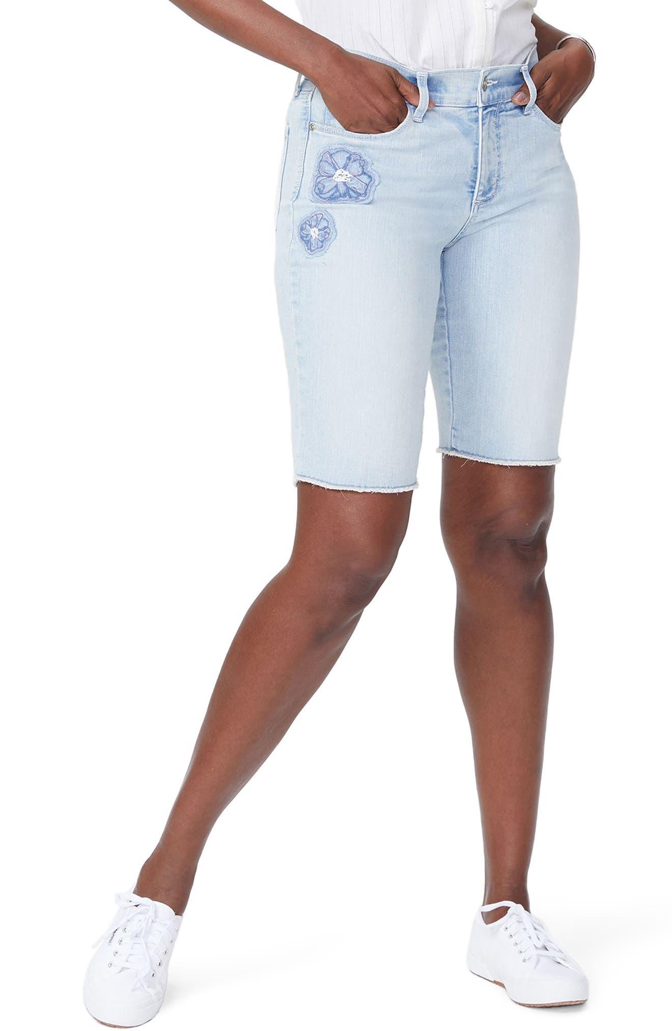 Briella Dream Blossom Denim Bermuda Shorts,                         Main,                         color, 422
