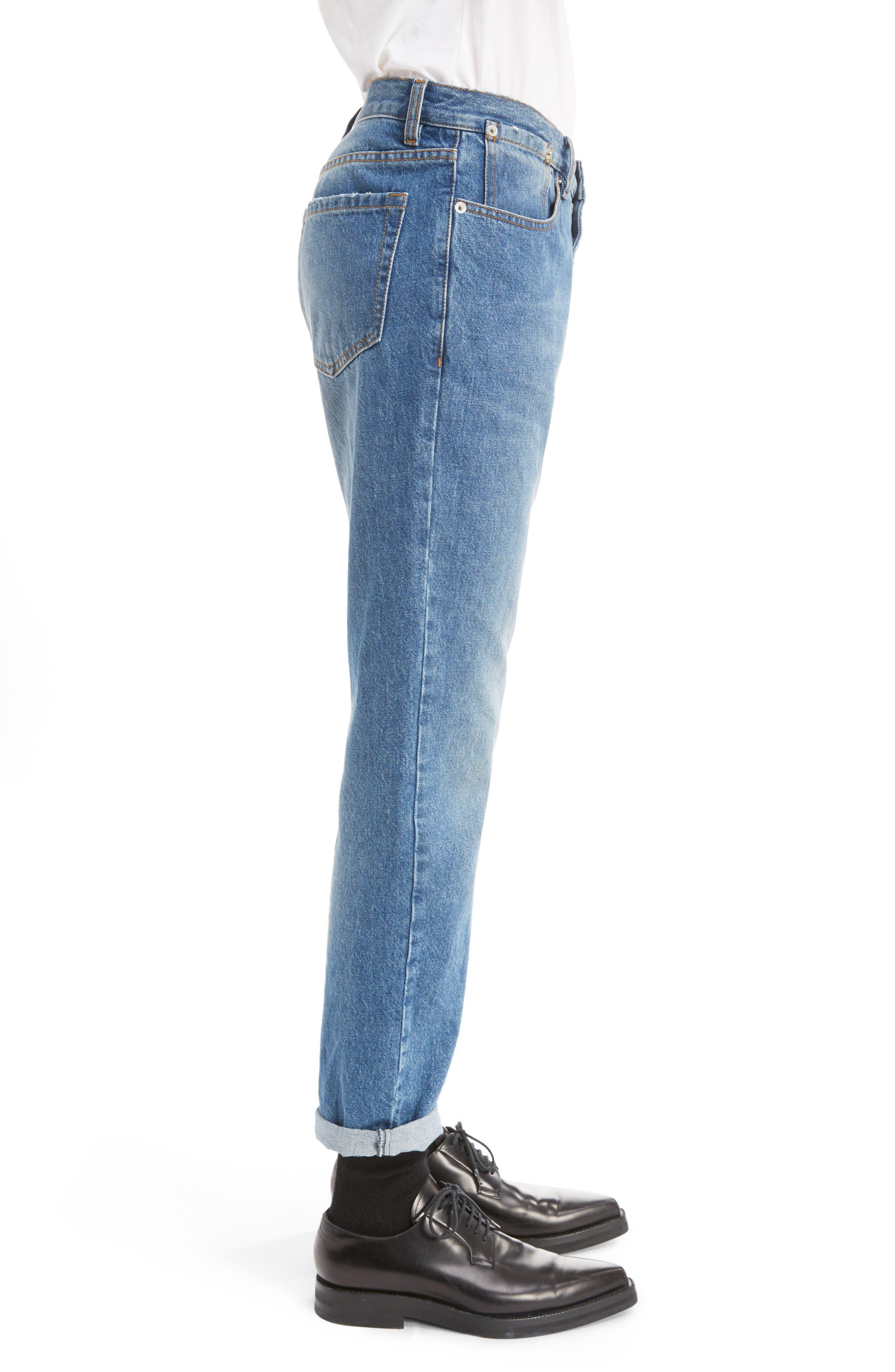 Cuffed Straight Leg Jeans,                             Alternate thumbnail 3, color,                             400